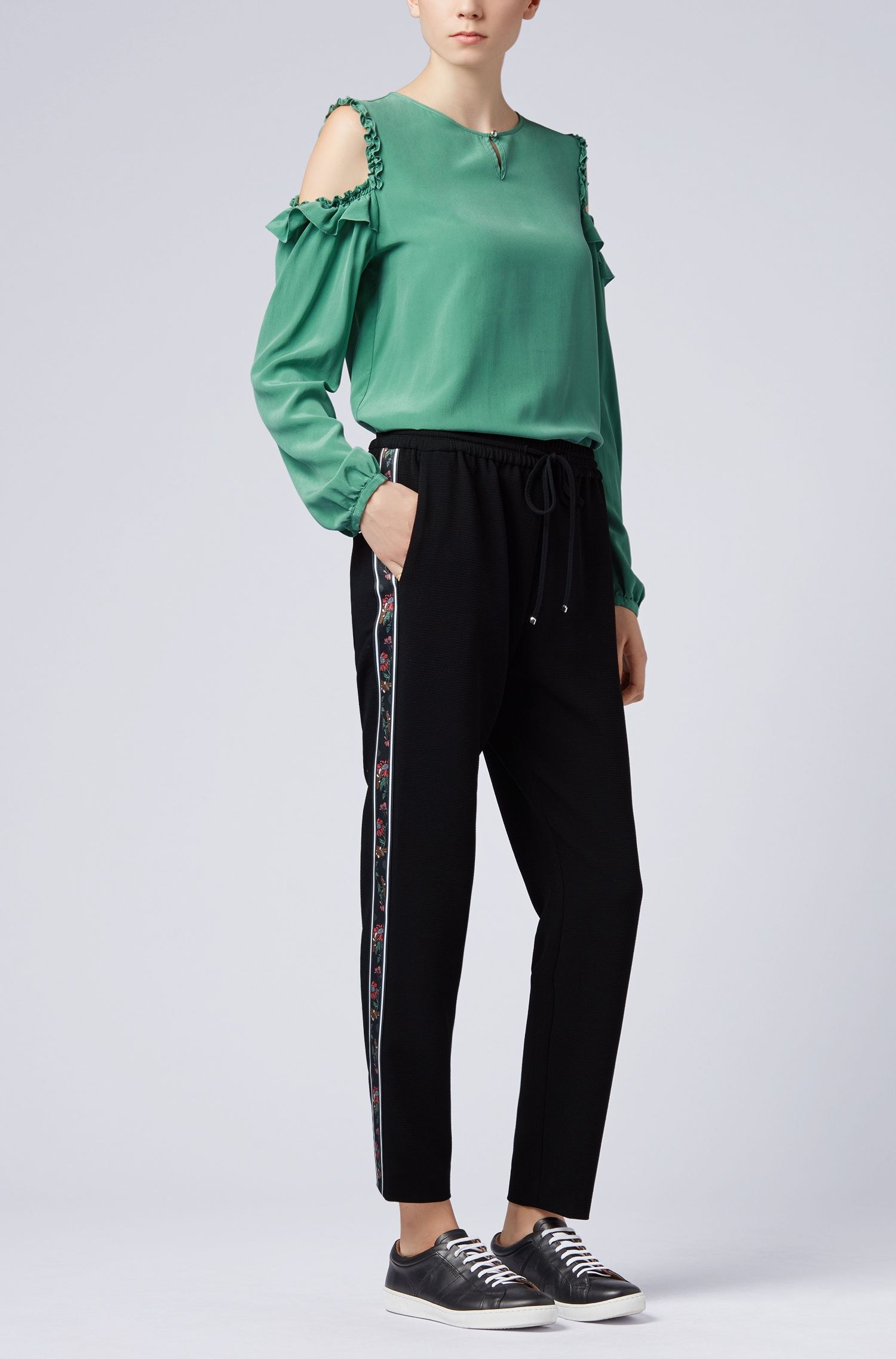 Schouderloze blouse van zuivere zijde met ruchedetail, Groen