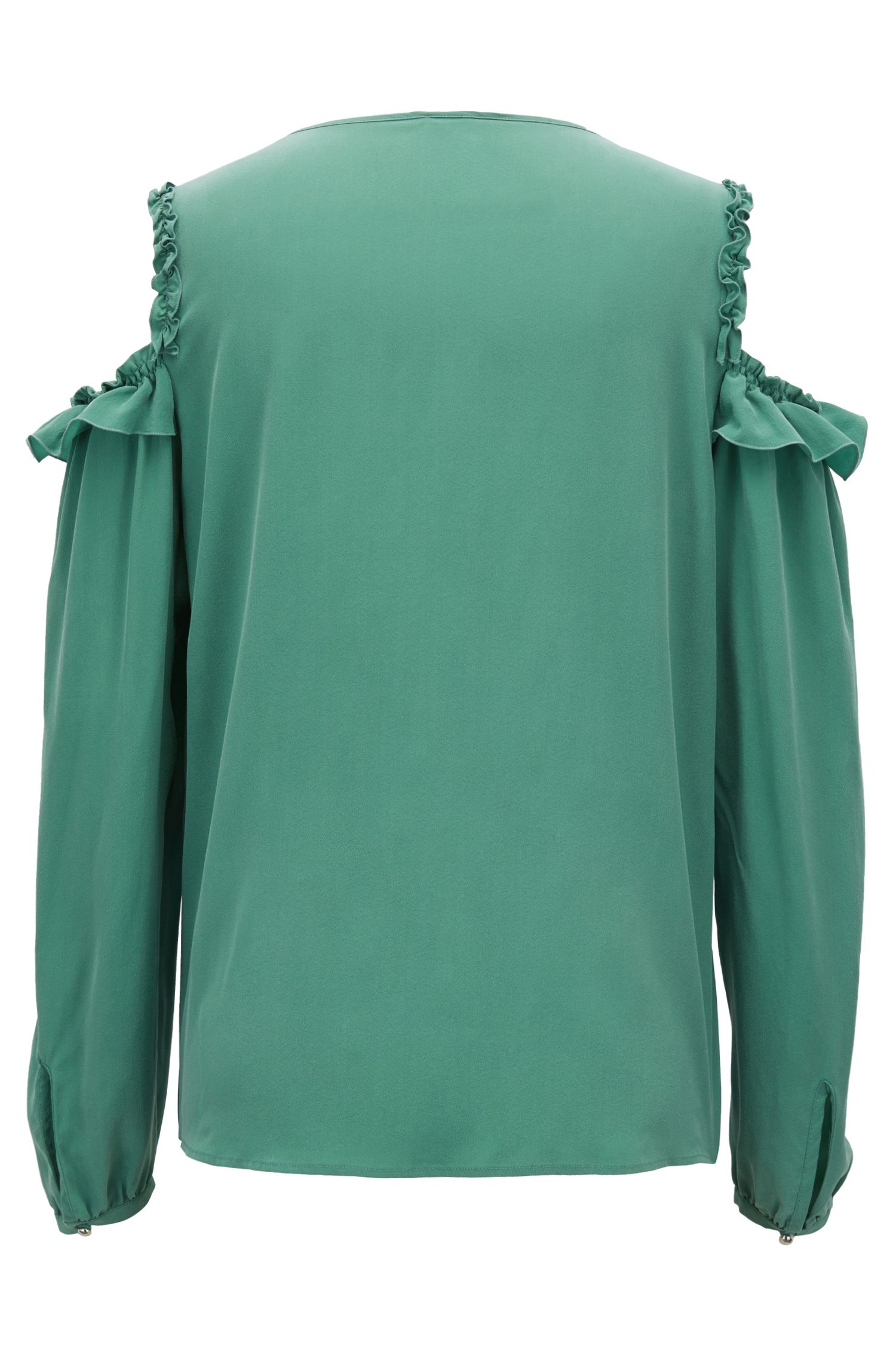 Cold-shoulder blouse in pure silk with ruching detail
