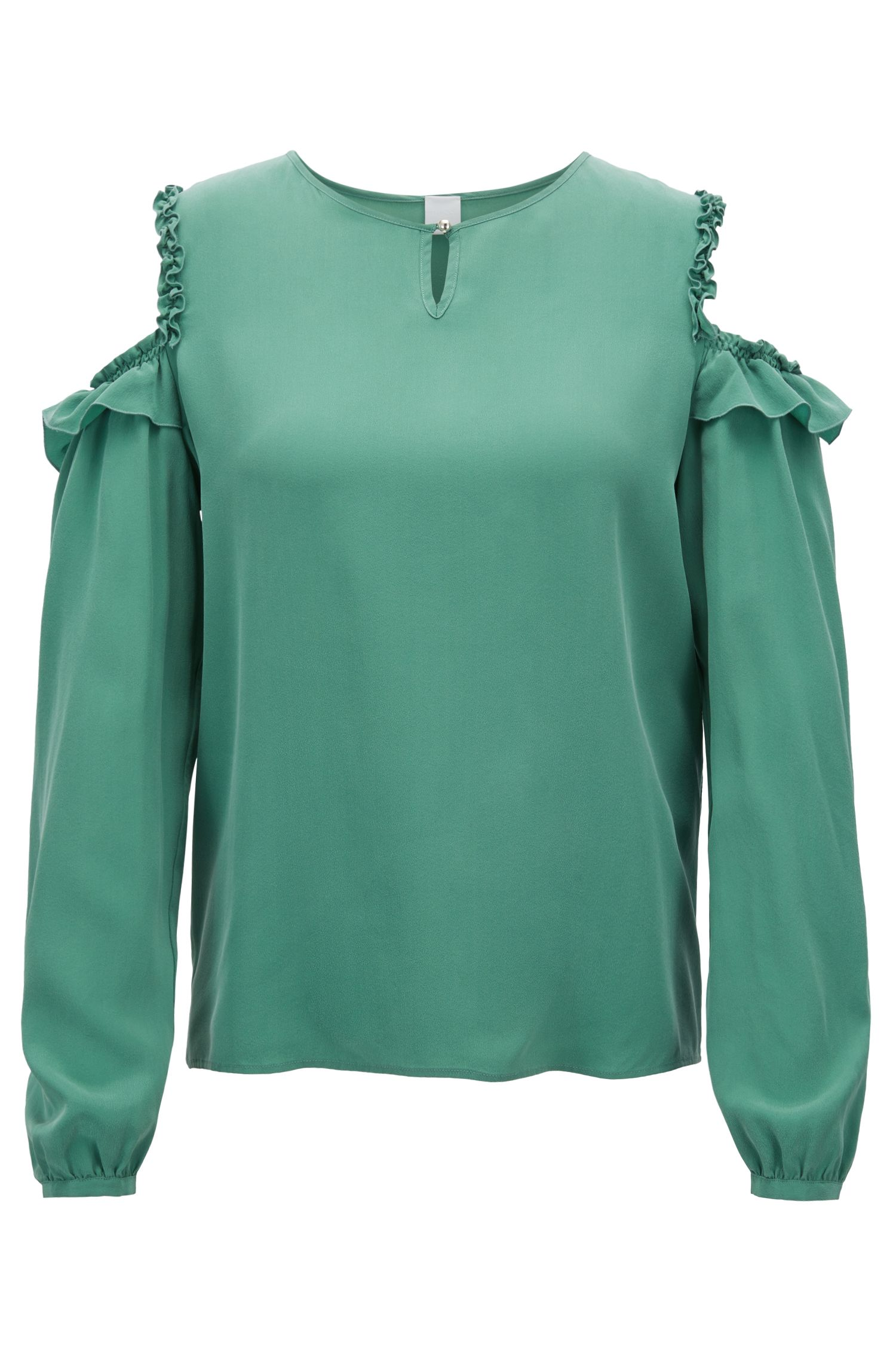 Cold-shoulder blouse in pure silk with ruching detail, Green