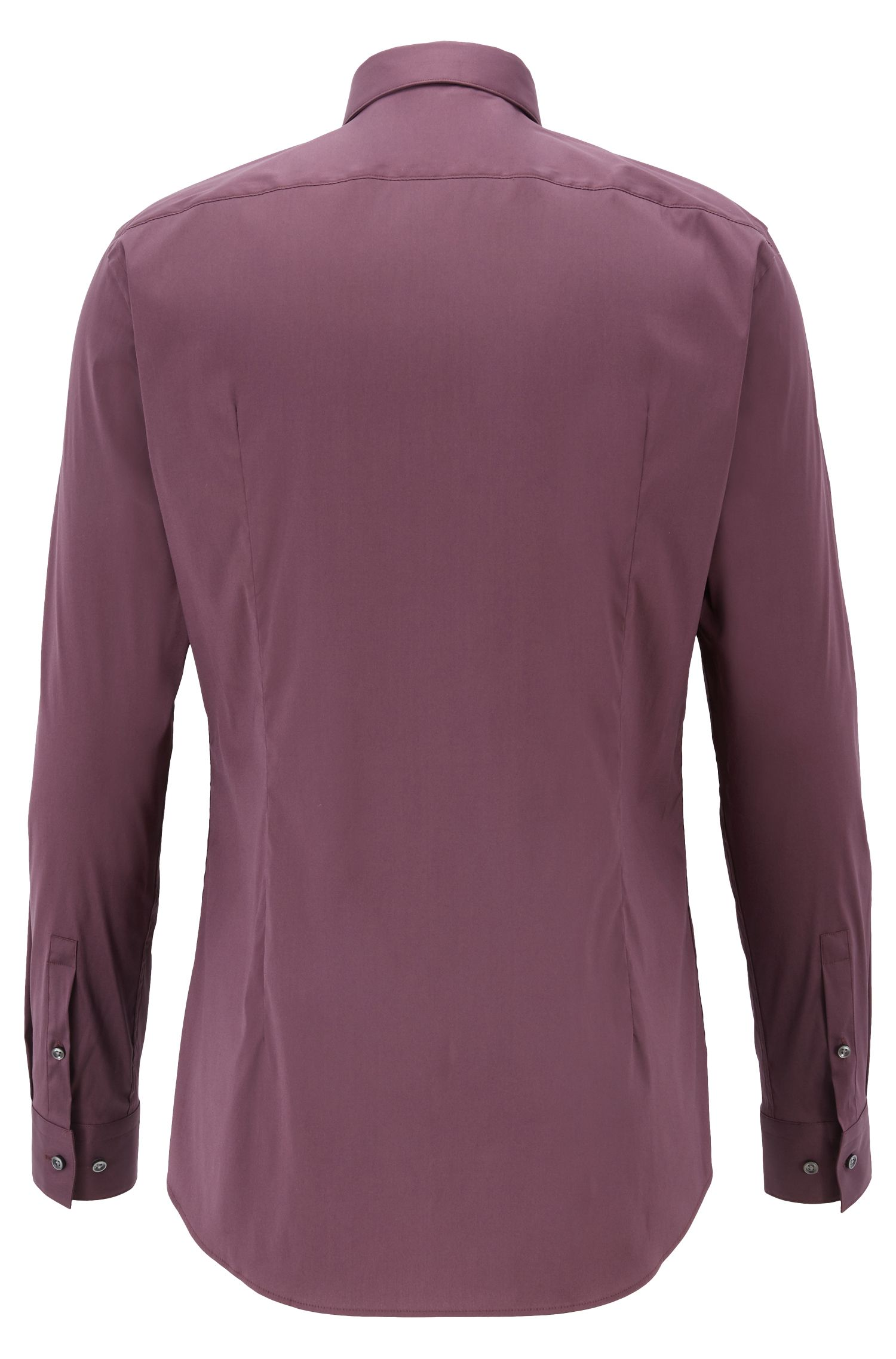Extra-slim-fit cotton-blend shirt with stretch, Dark Purple