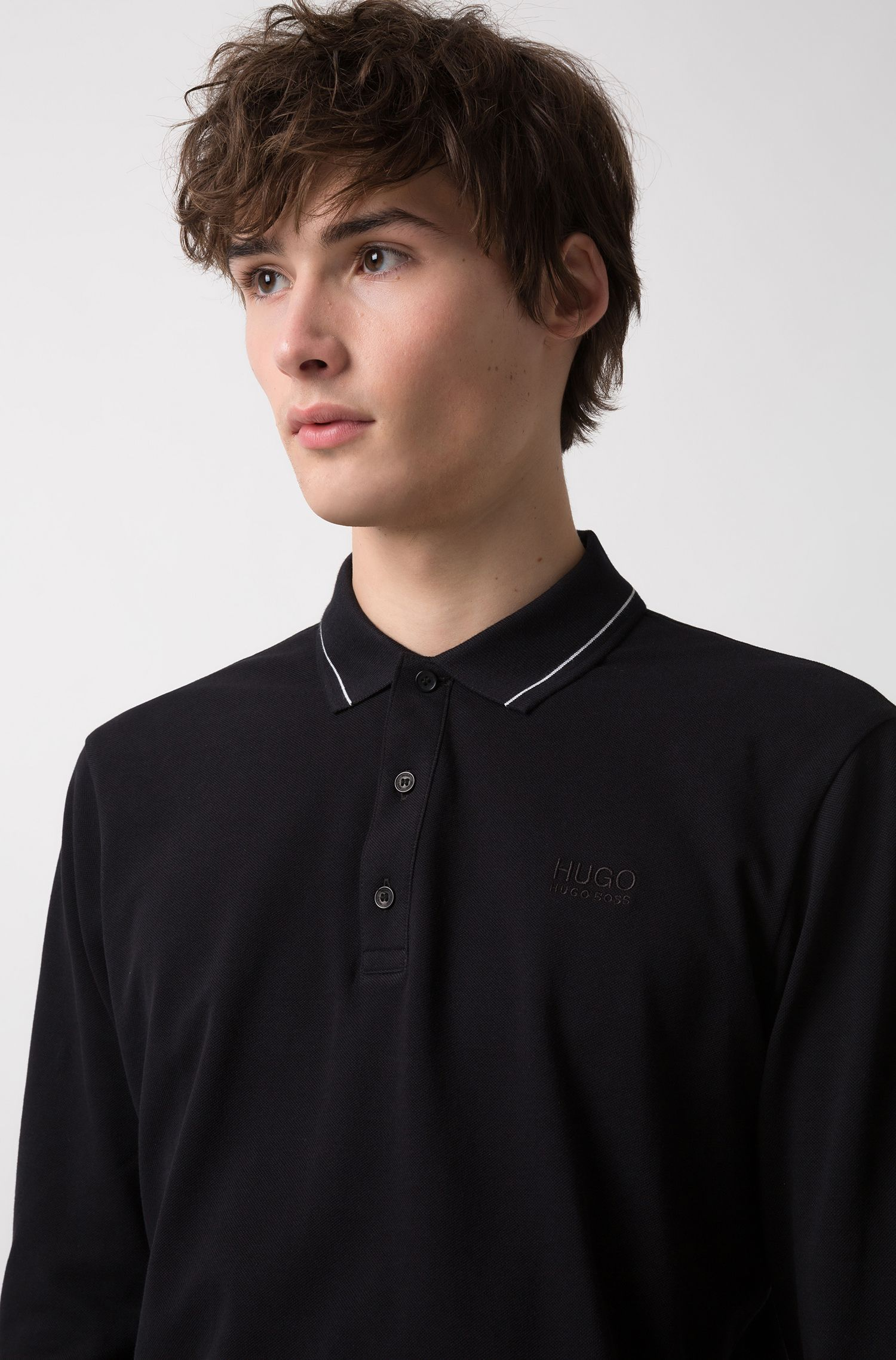 Regular-fit polo shirt in cotton with tipped collar, Black