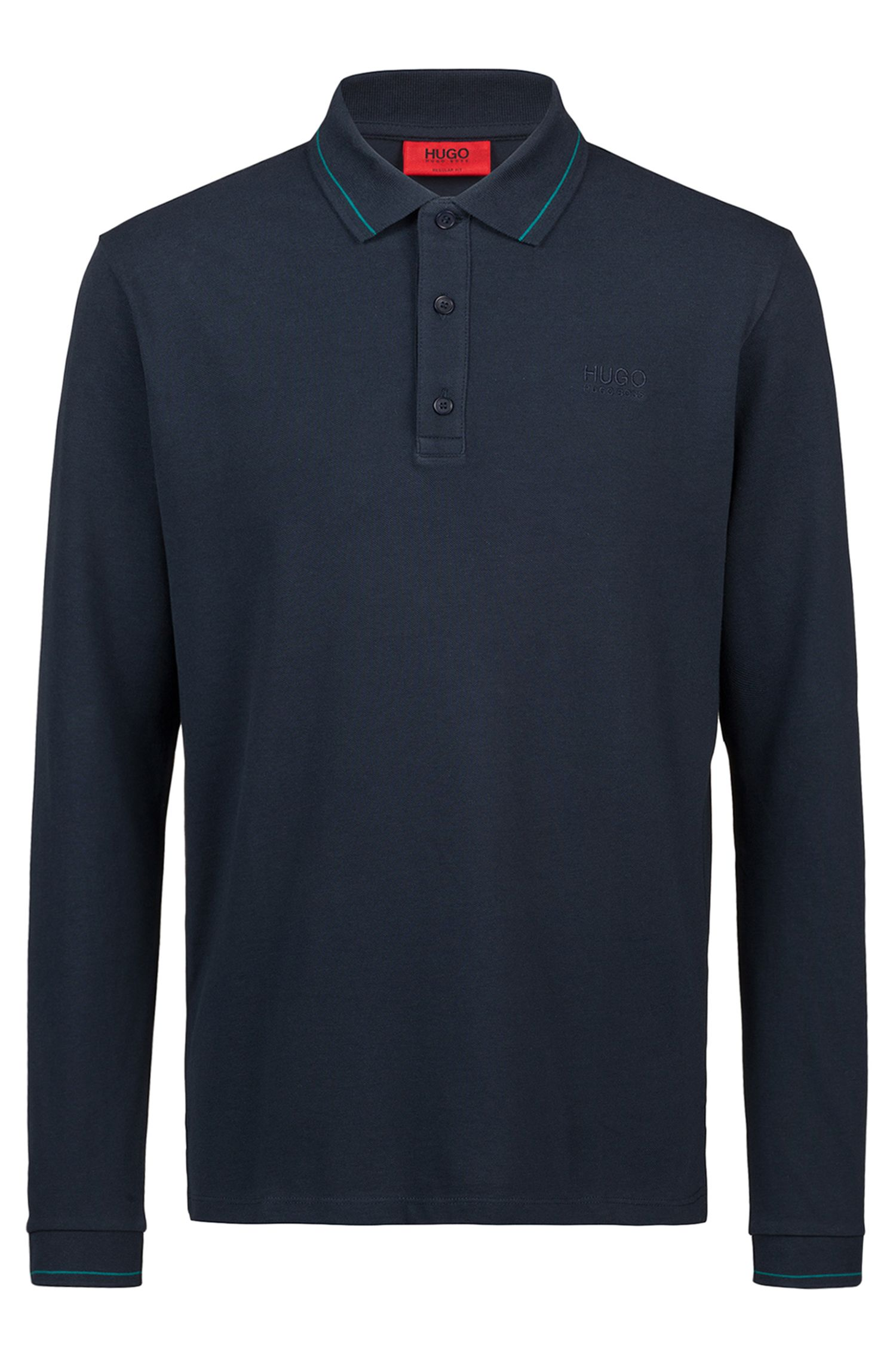 Regular-fit polo shirt in cotton with tipped collar, Dark Blue