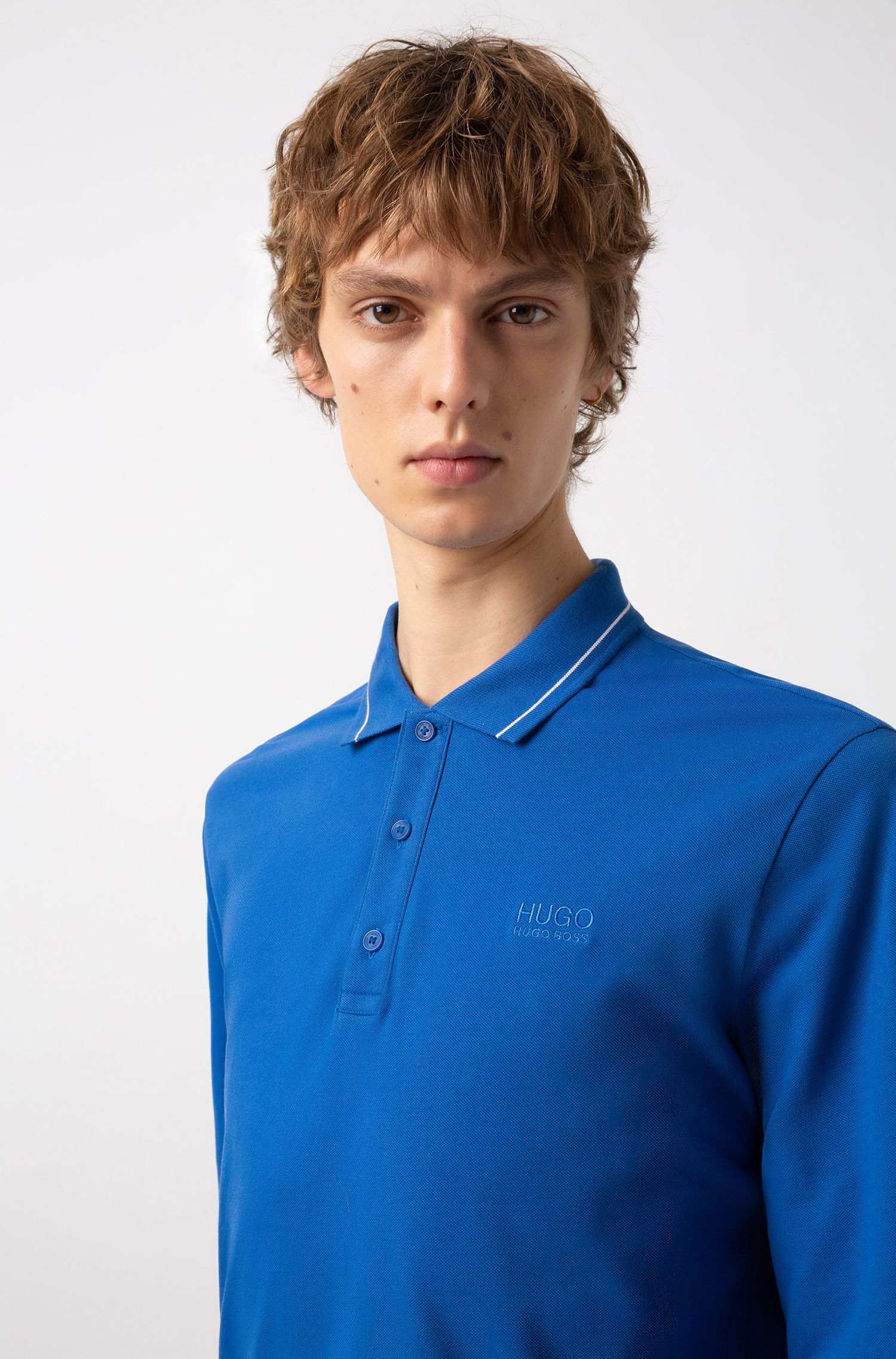 Regular-fit polo shirt in cotton with tipped collar, Blue