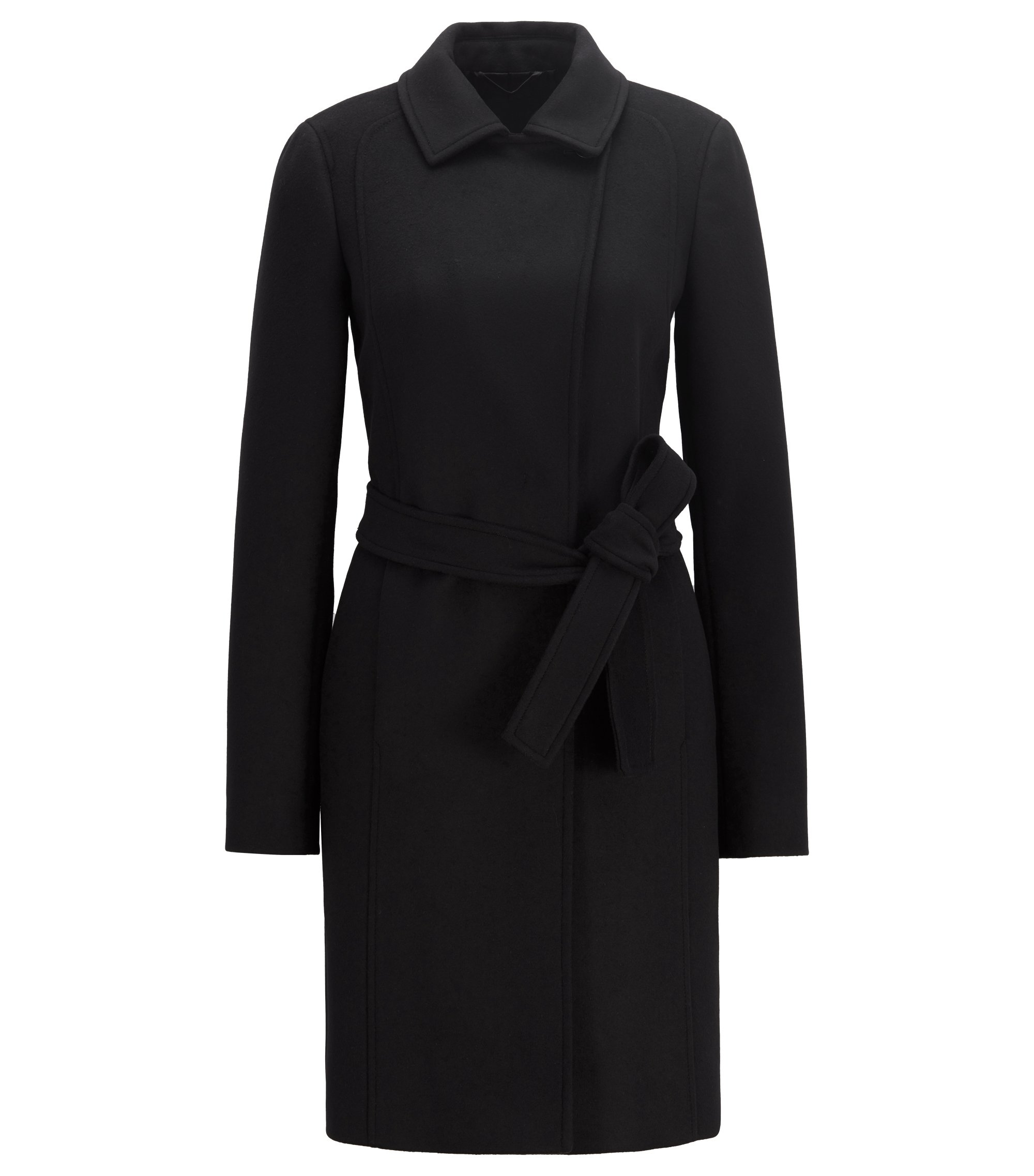 Wrap coat in Italian virgin wool and cashmere, Schwarz