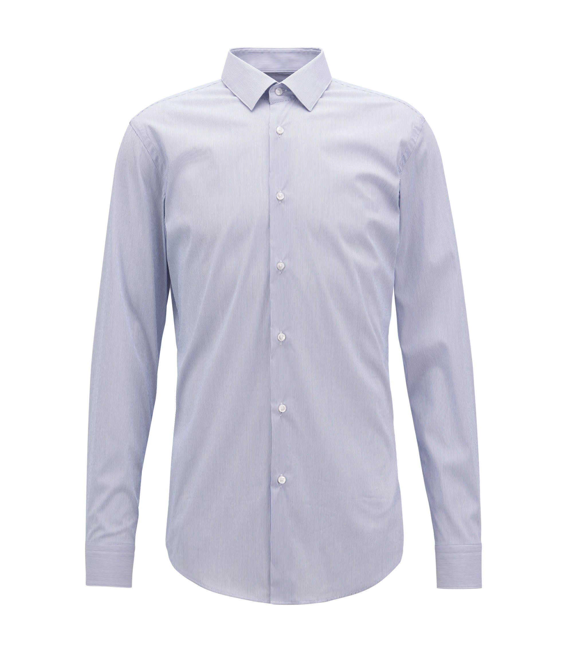 Extra-slim-fit striped shirt in a stretch cotton blend, Blue