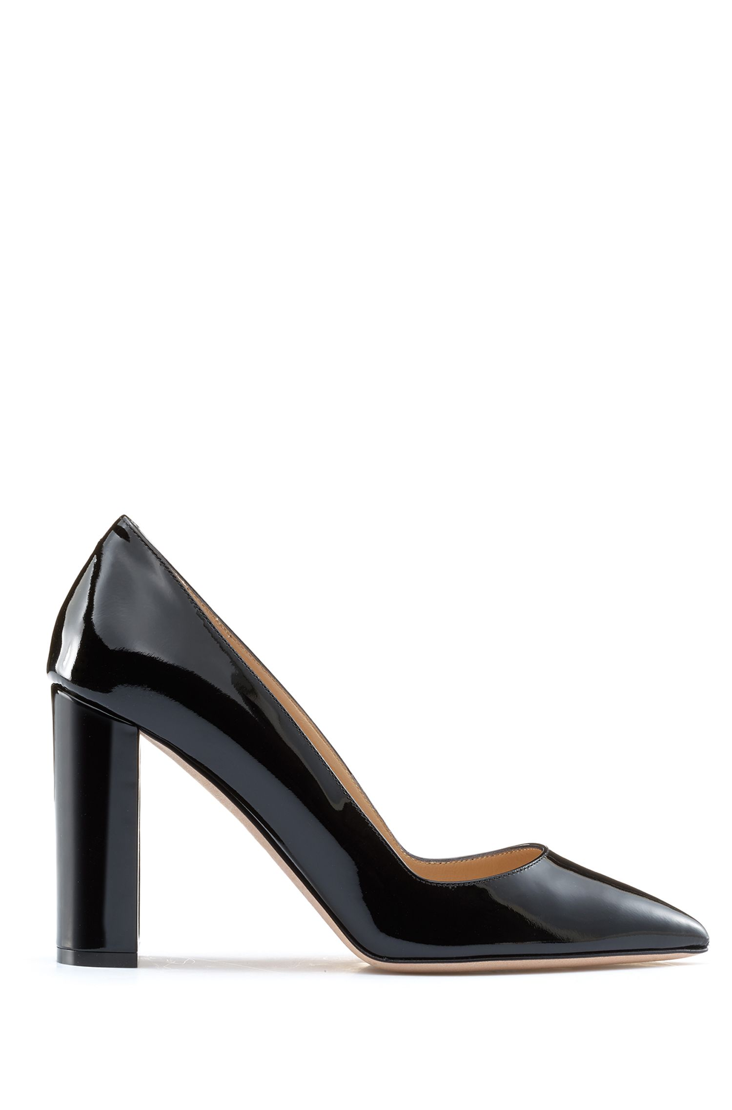 Pointed-toe pumps in patent leather with block heel, Black