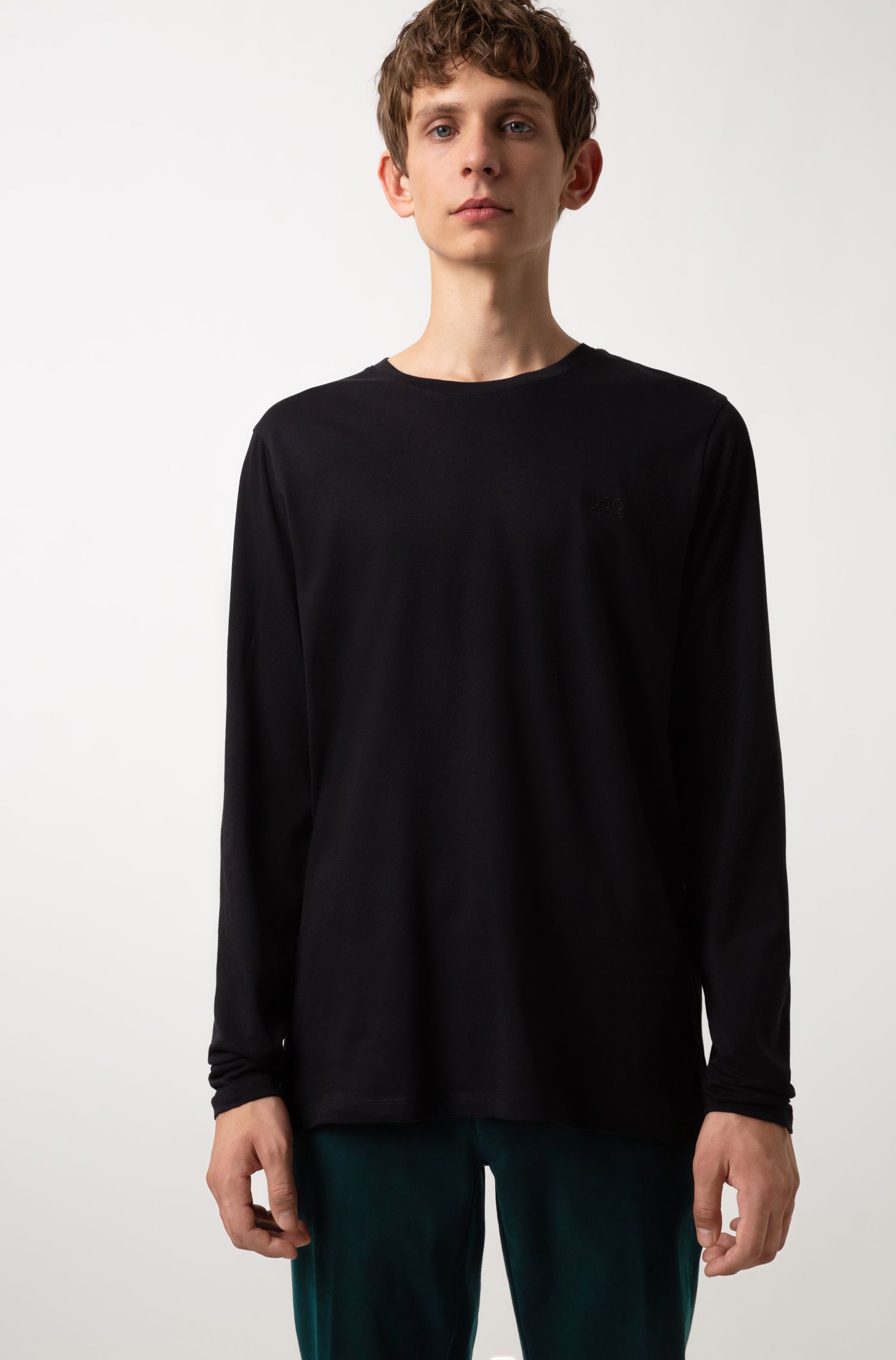 Cotton sweatshirt with left-chest logo, Black