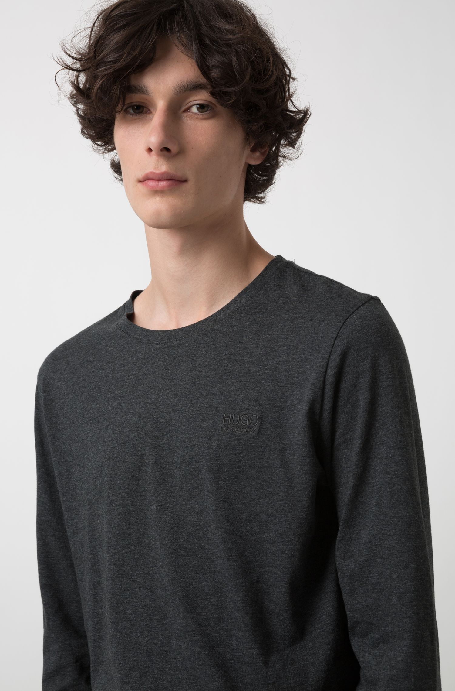 Cotton sweatshirt with left-chest logo, Anthracite