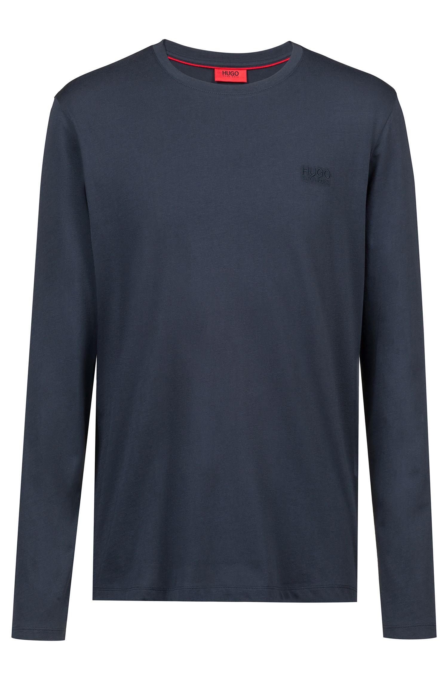 Sweatshirt aus Baumwolle mit Logo auf der Brust, Dunkelblau