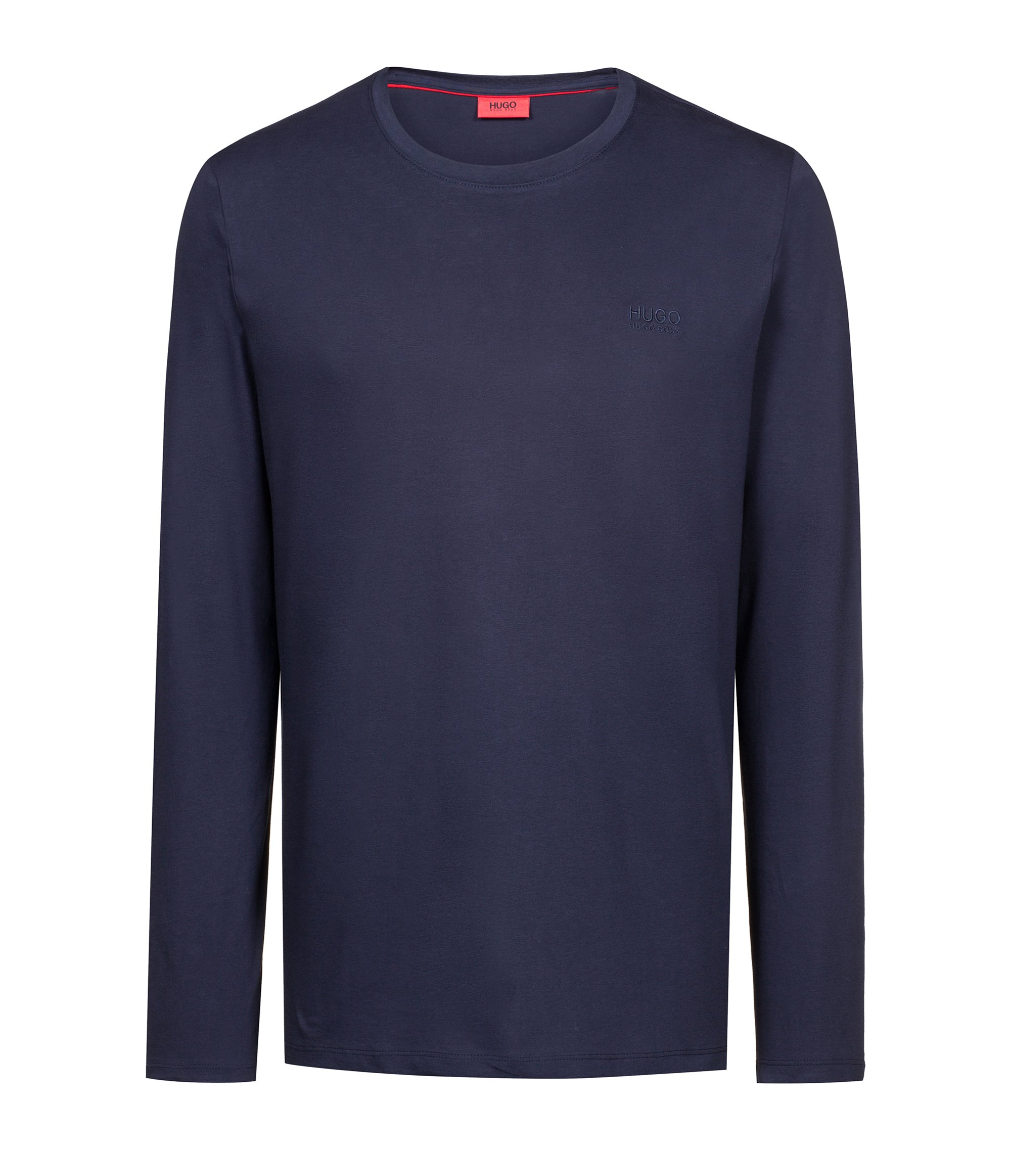 Cotton sweatshirt with left-chest logo, Dark Blue