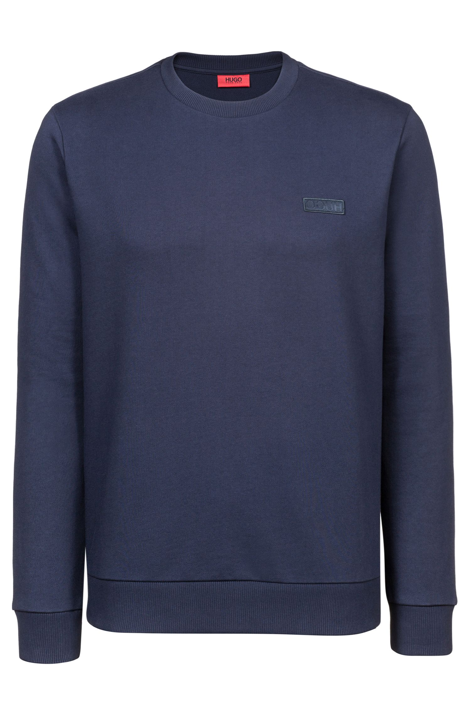 French terry sweatshirt with reverse-logo badge, Dark Blue