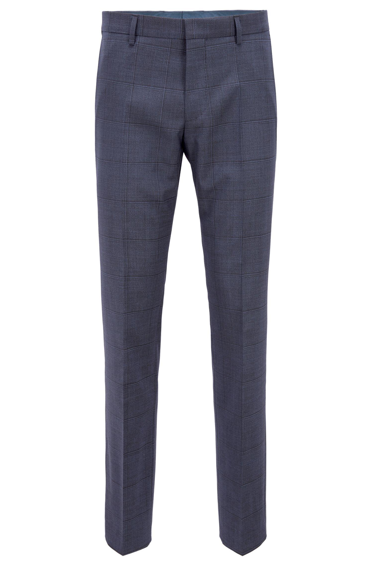 Slim-fit kostuum van scheerwol met ruitdessin , Donkerblauw