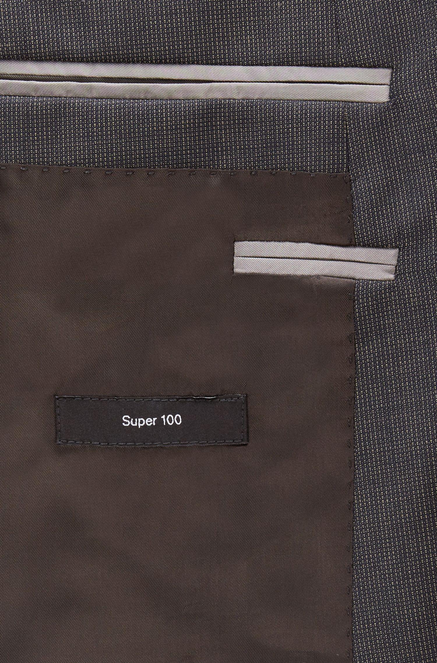 Gemusterter Slim-Fit Anzug aus Schurwoll-Serge, Dunkelbraun