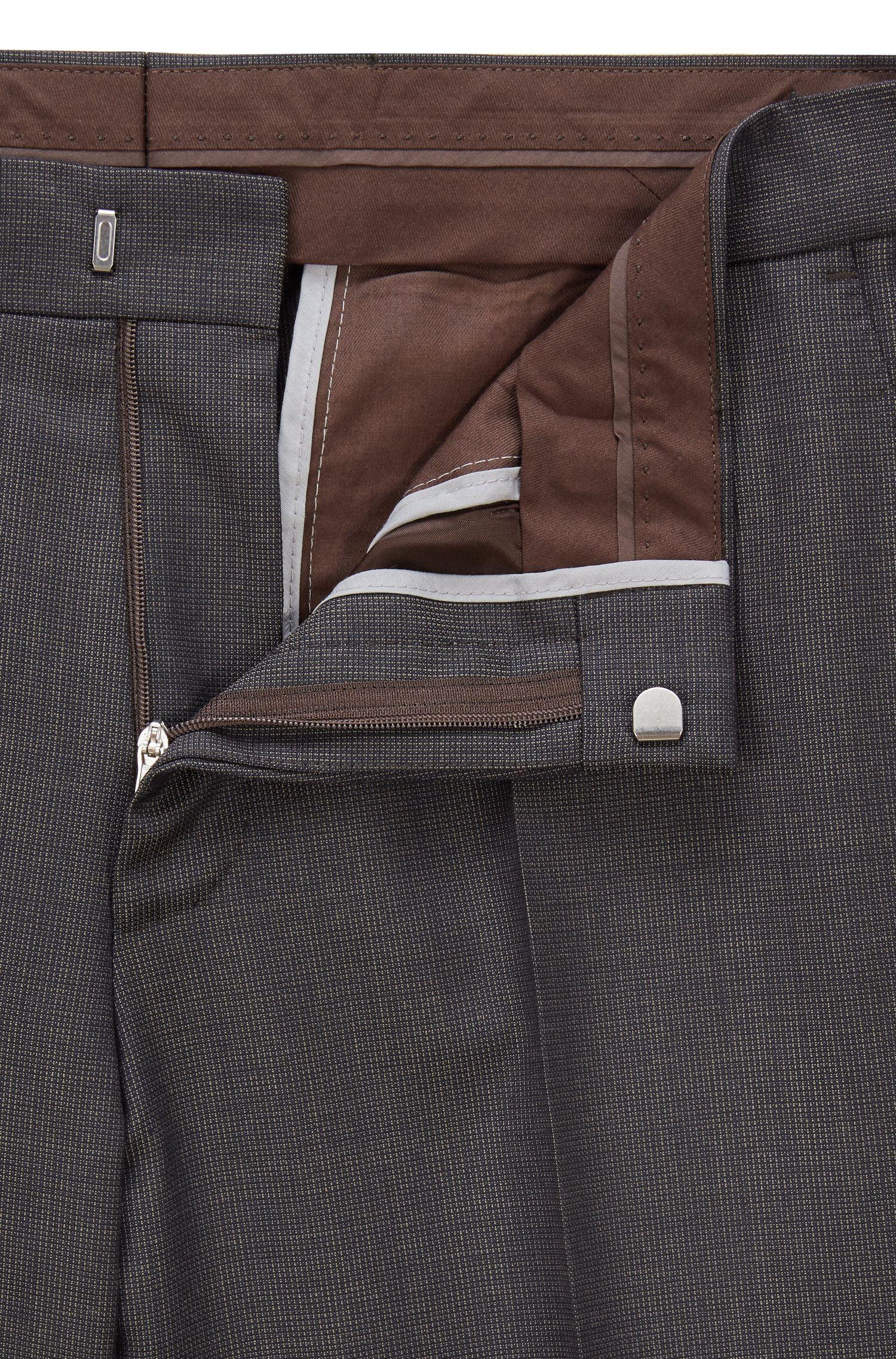 Slim-fit kostuum in een serge van scheerwol met dessin, Donkerbruin