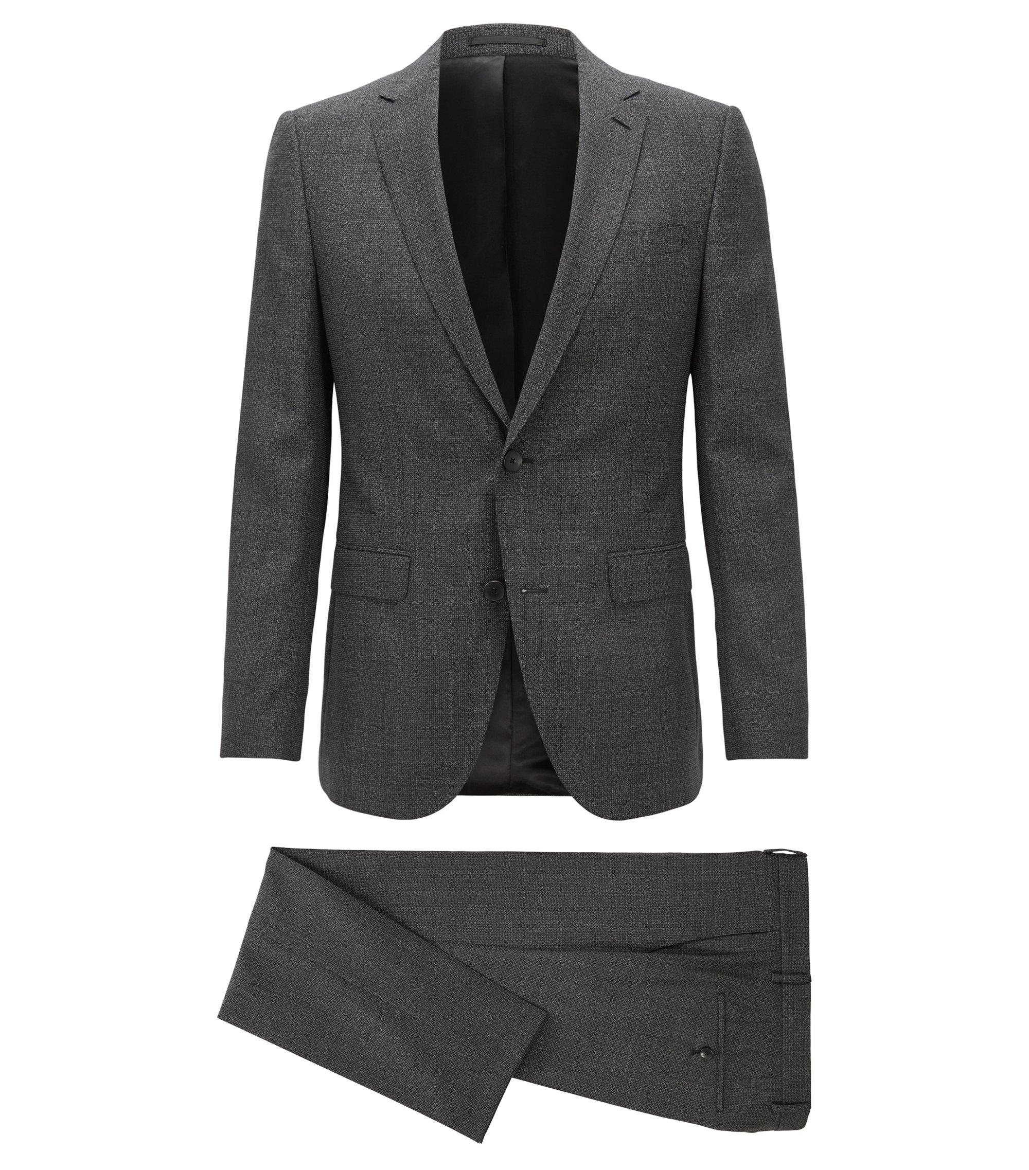Slim-fit kostuum in een serge van scheerwol met dessin, Zwart