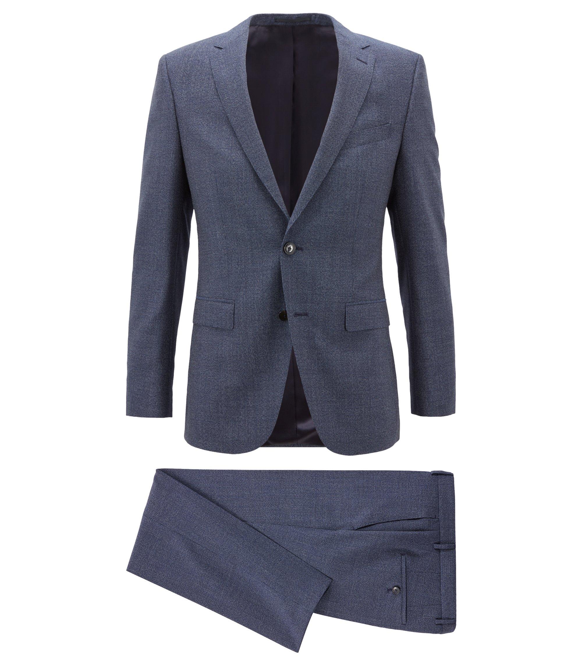 Slim-fit kostuum in een serge van scheerwol met dessin, Donkerblauw