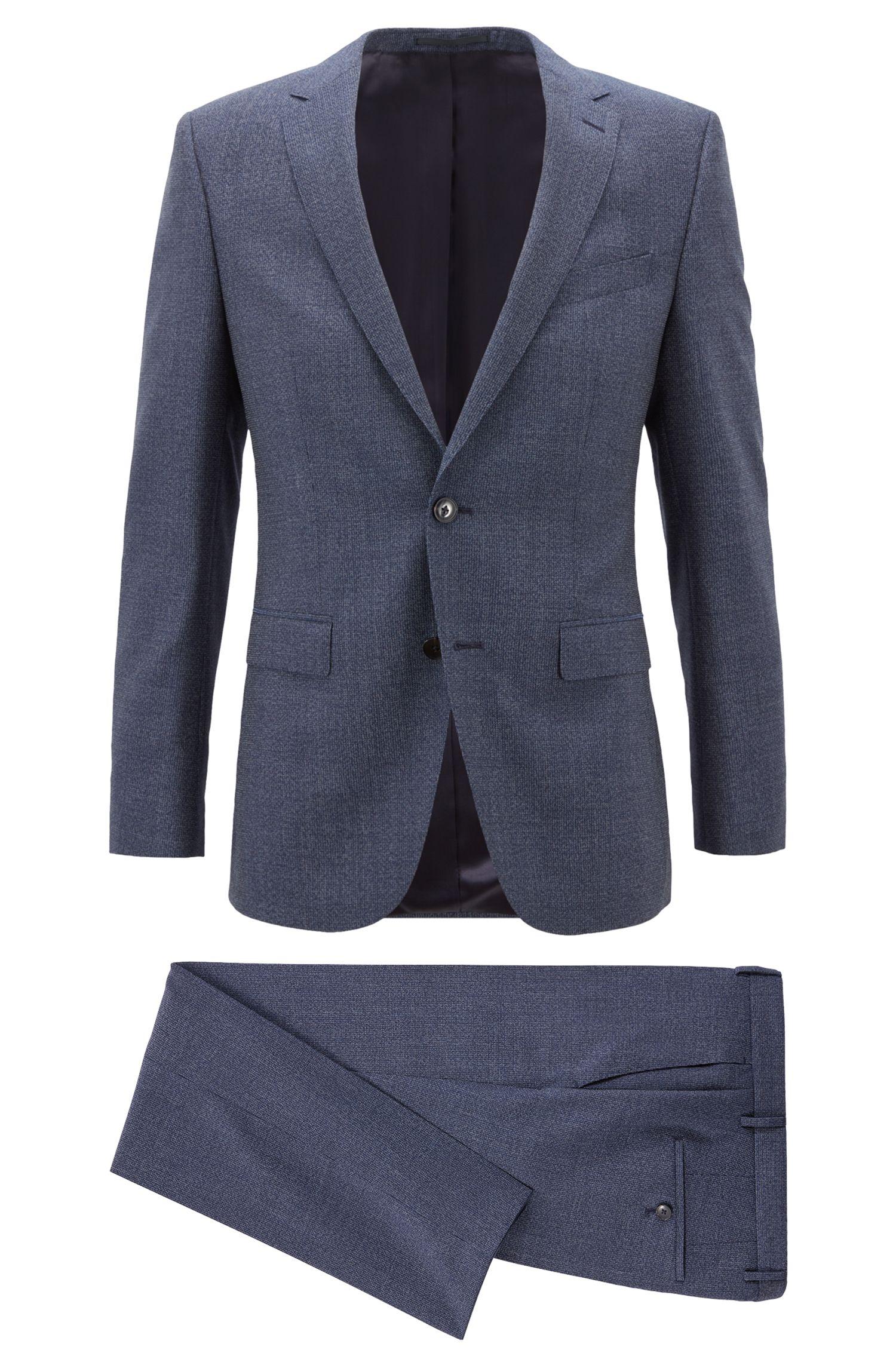 Gemusterter Slim-Fit Anzug aus Schurwoll-Serge, Dunkelblau