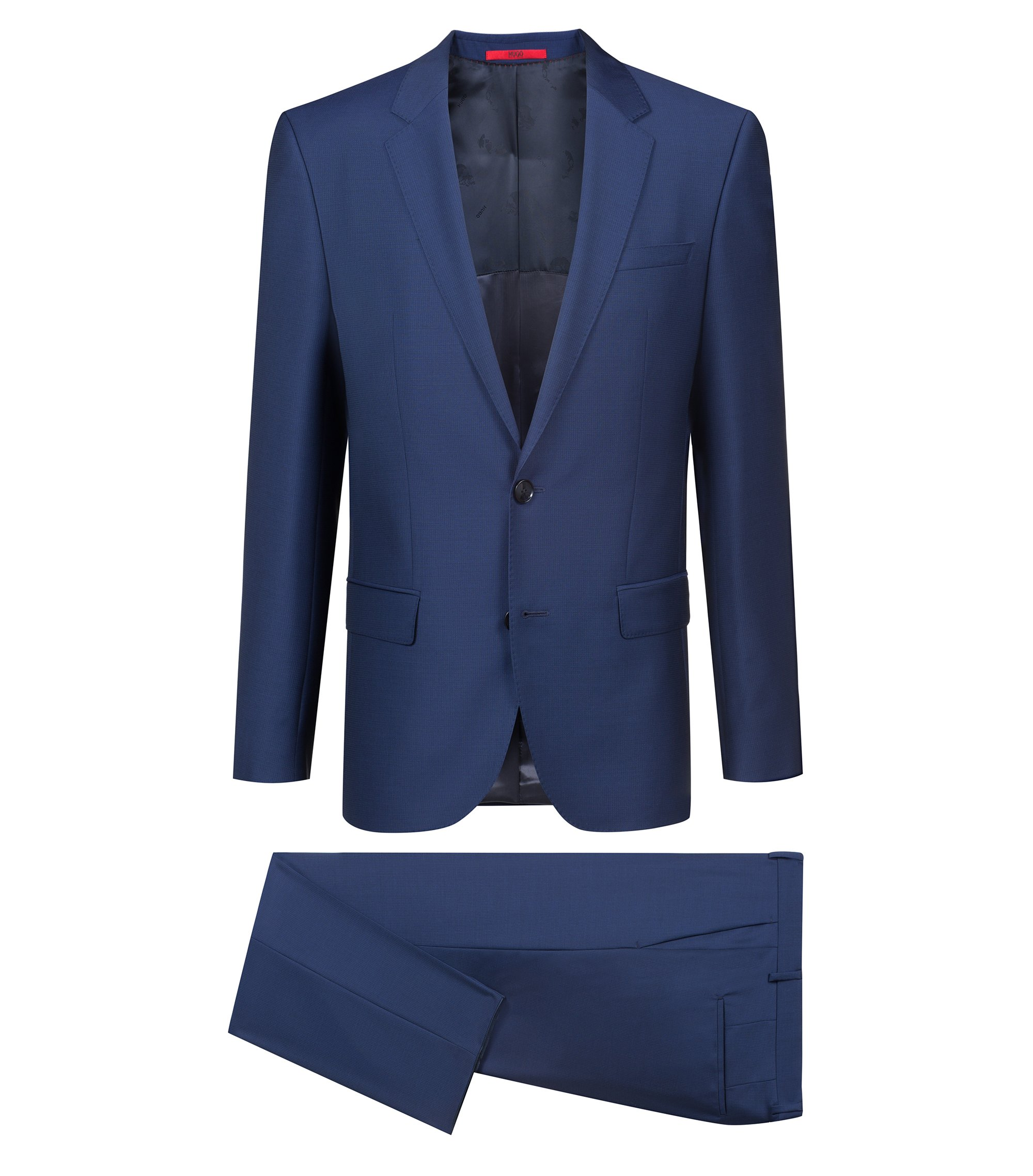 Slim-fit suit in patterned virgin wool, Dark Blue