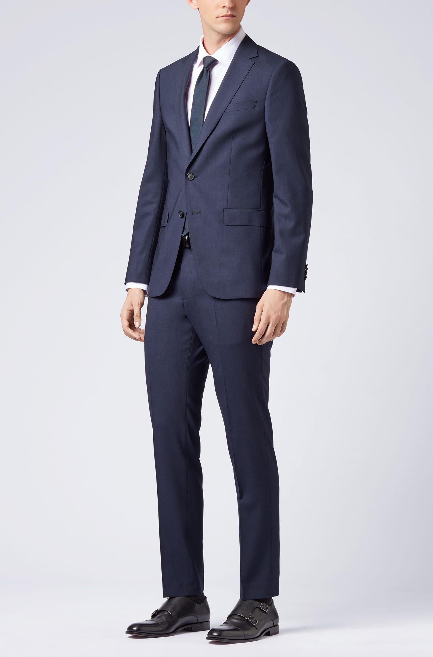 Slim-fit suit in virgin wool with stretch lining, Blue