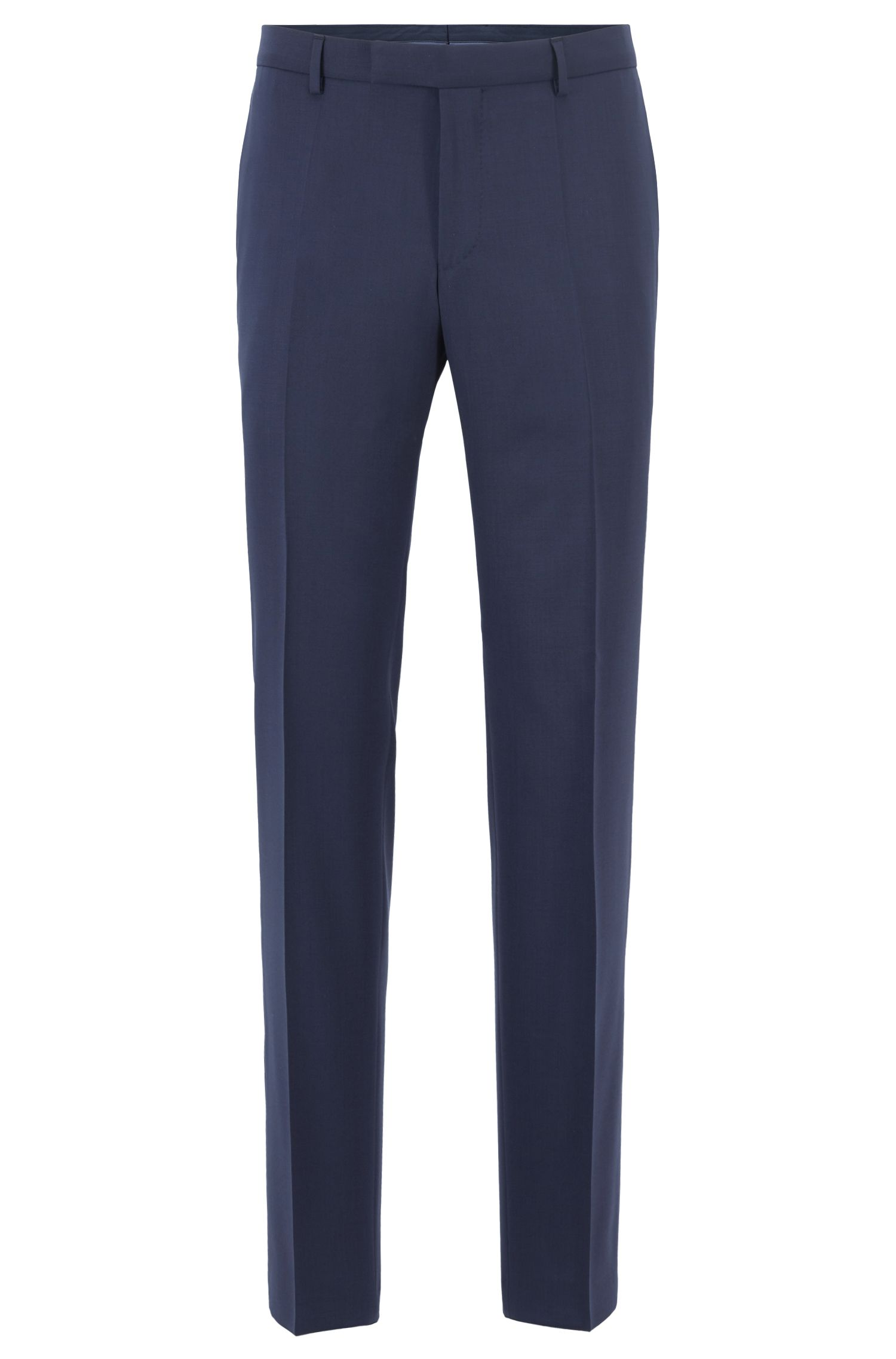 Costume Slim Fit en laine vierge à doublure stretch, Bleu