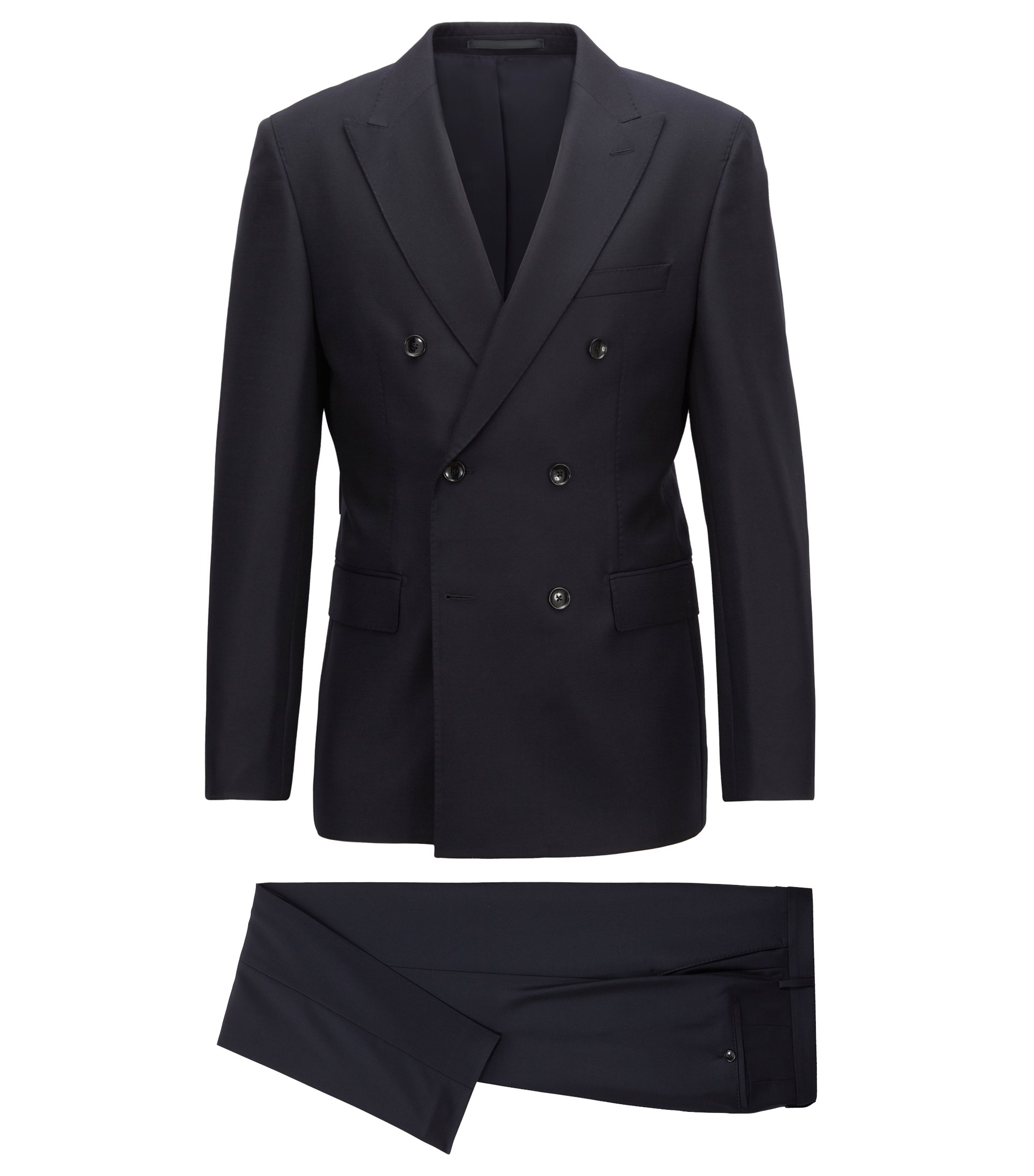 Tailored double-breasted suit in virgin wool, Dark Blue