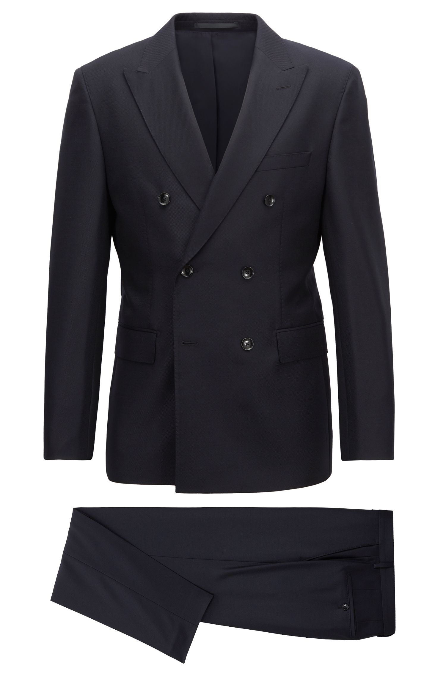 Slim-fit Tailored collection double-breasted suit in virgin wool, Dark Blue