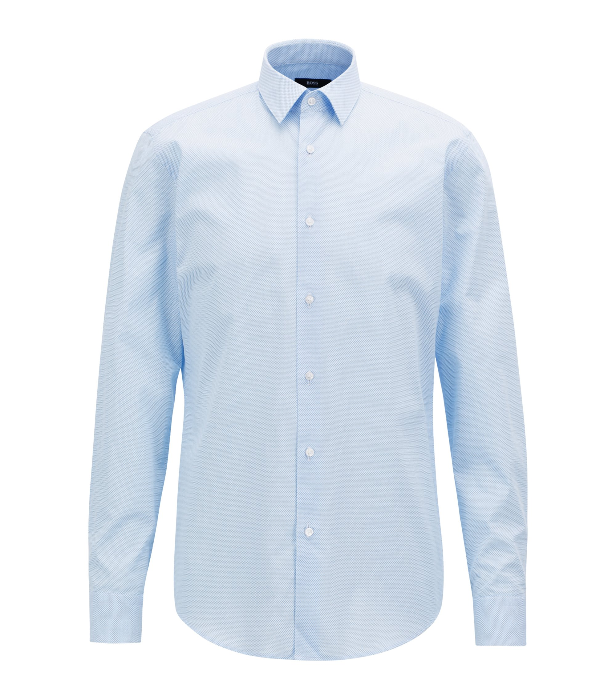 Slim-fit shirt in printed Italian cotton poplin, Light Blue