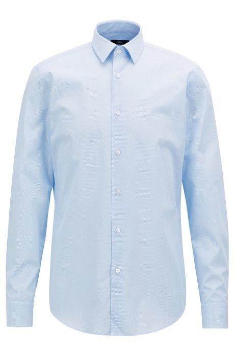 0c2c3fd7 Slim-fit shirt in printed Italian cotton poplin, Light Blue