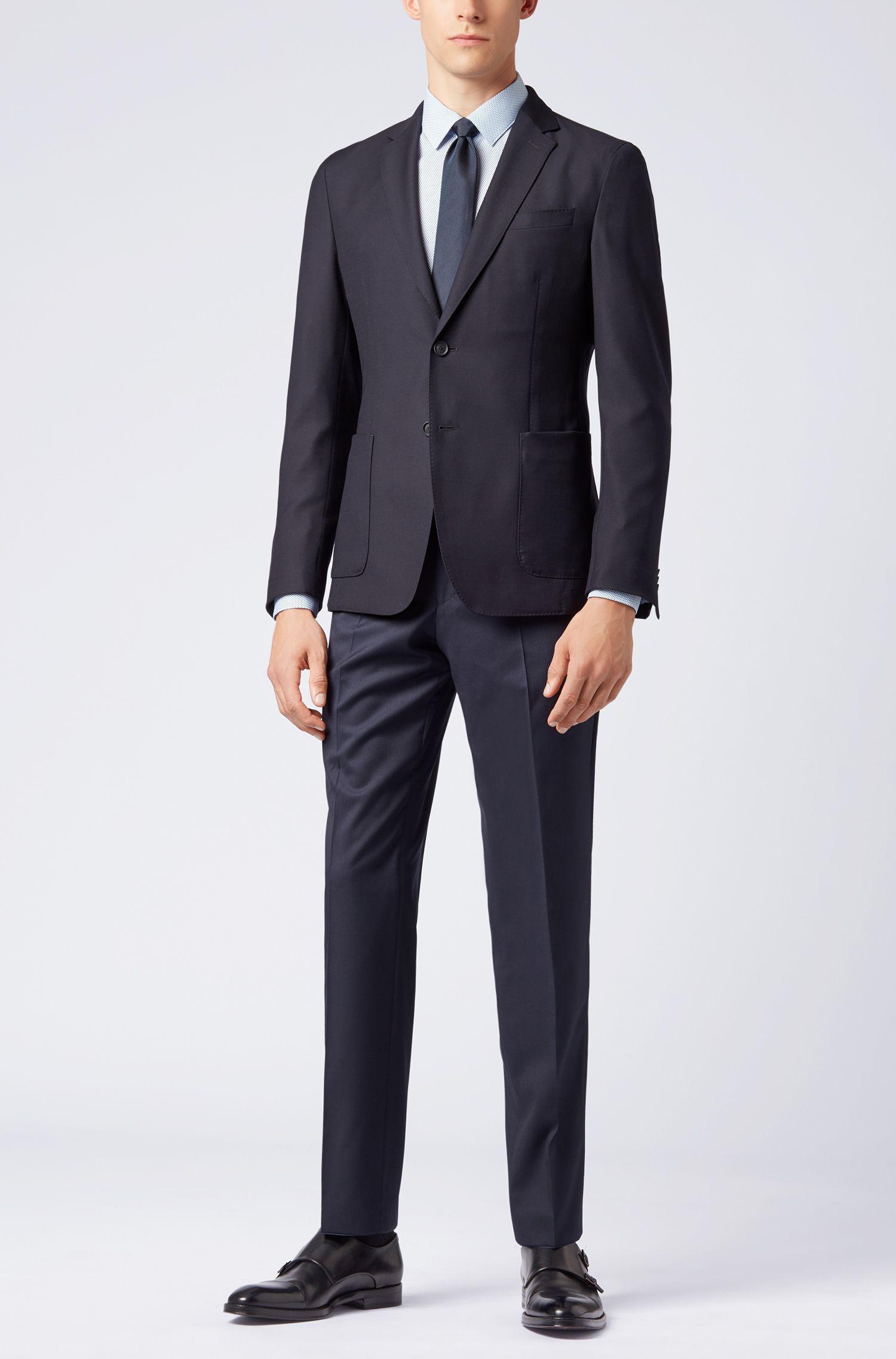 Slim-fit overhemd van Italiaanse katoenpopeline met microprint, Donkerblauw