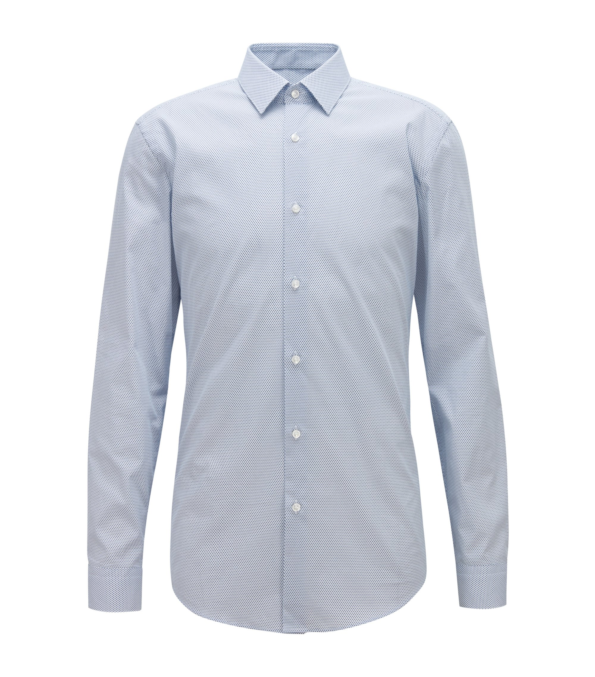 Slim-fit shirt in micro-print Italian cotton poplin, Dark Blue
