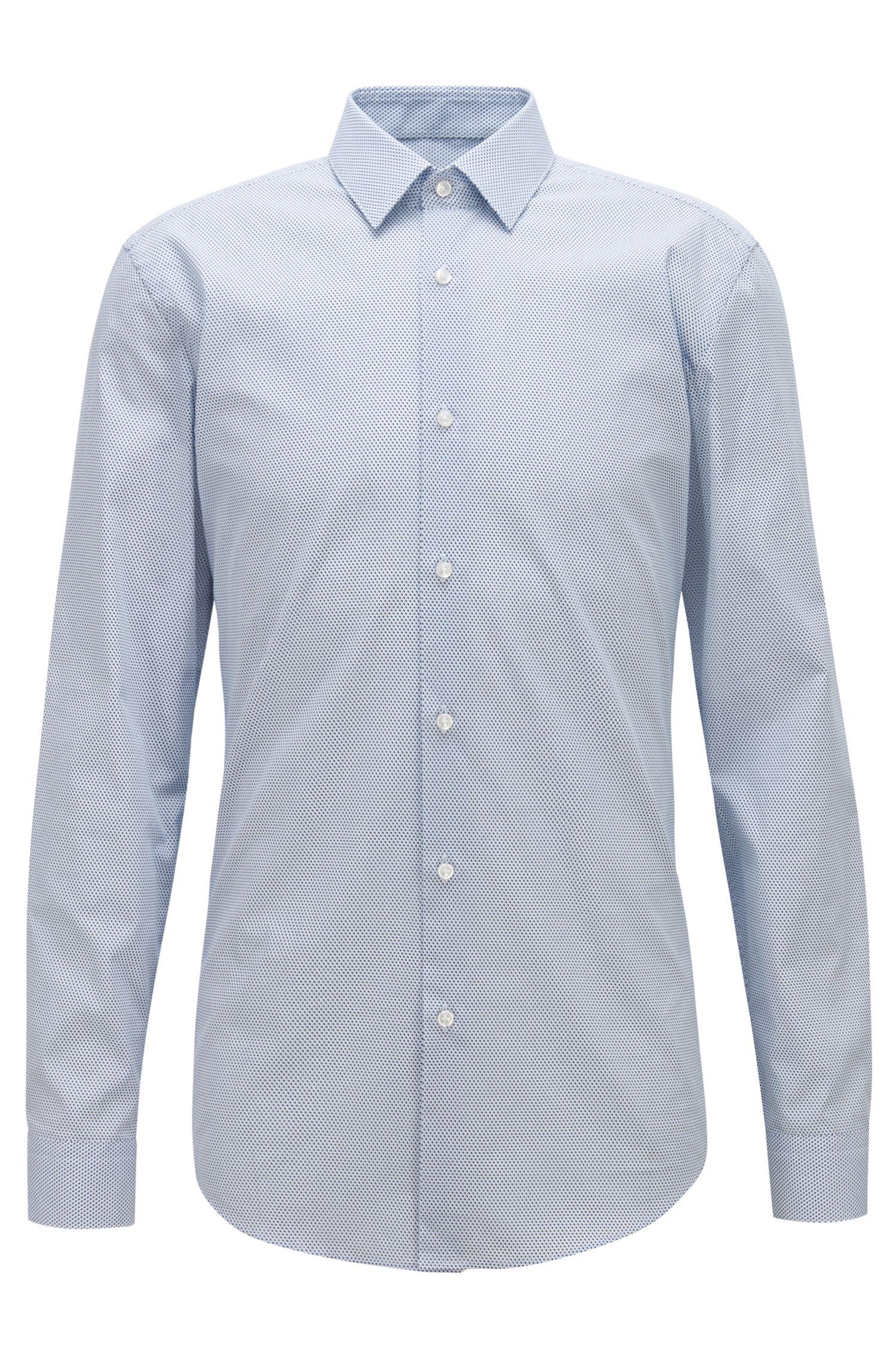 Camisa slim fit en popelín de algodón italiano con microestampado, Azul oscuro