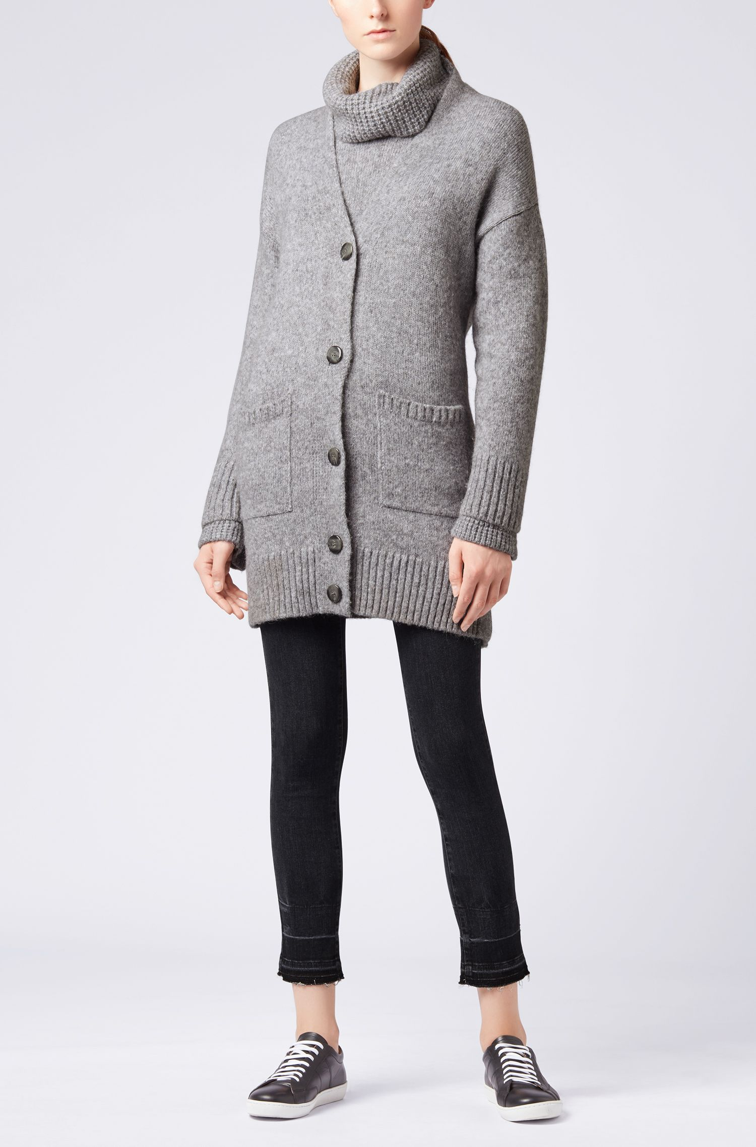 Long-length oversized-fit cardigan with dropped shoulders, Silver