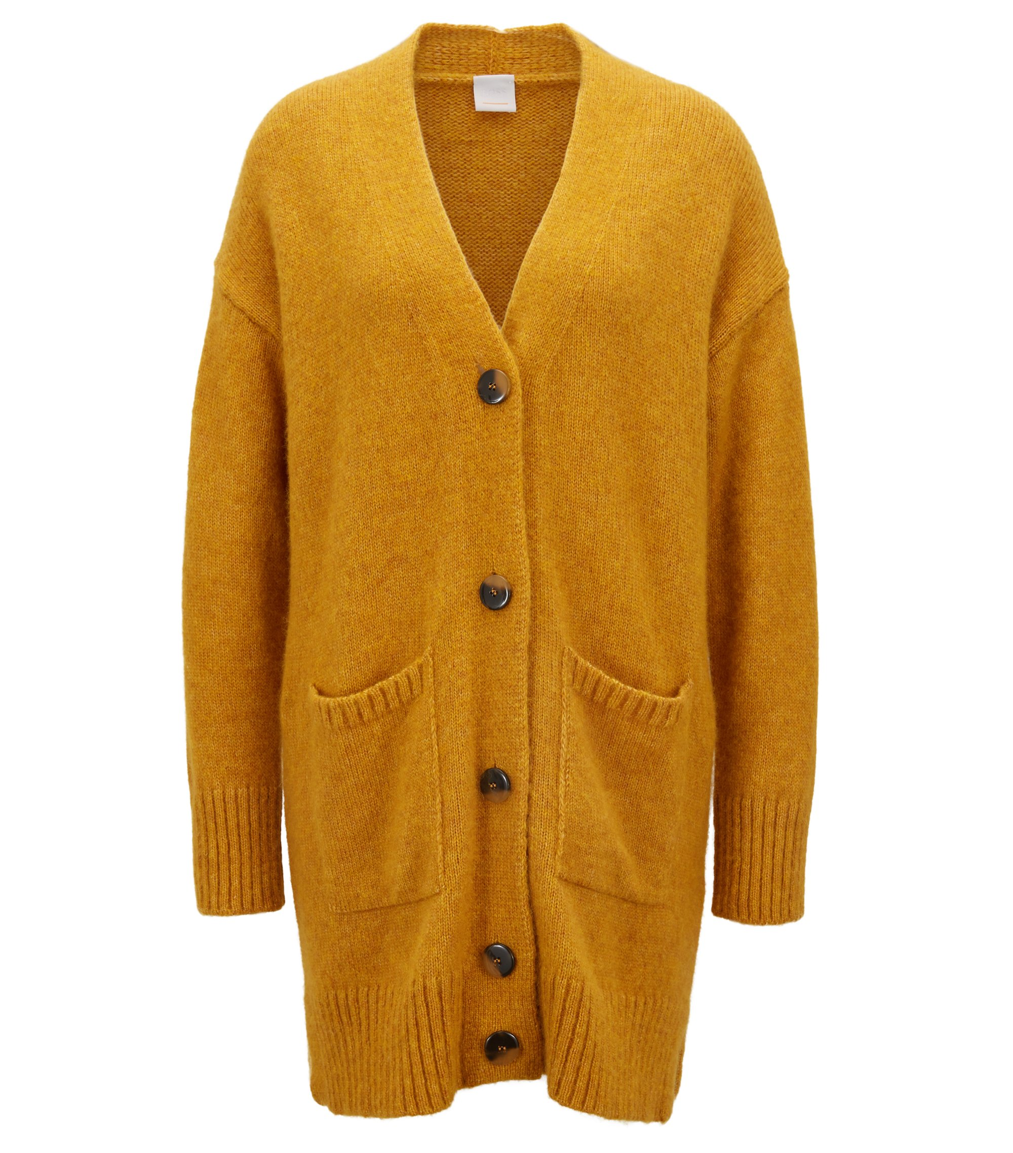 Long-length oversized-fit cardigan with dropped shoulders, Gold