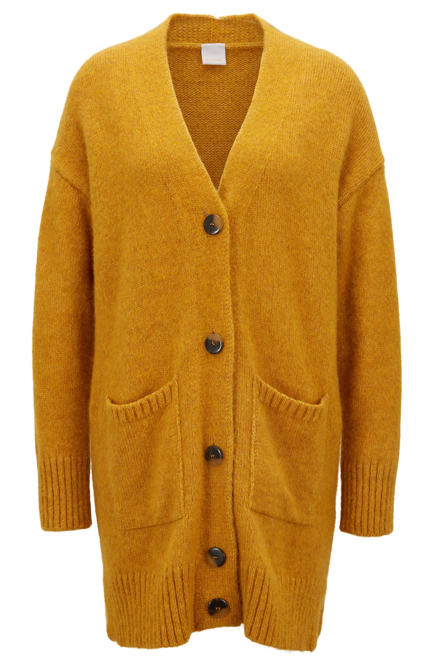 Cardigan long Oversized Fit à emmanchures tombantes, Or