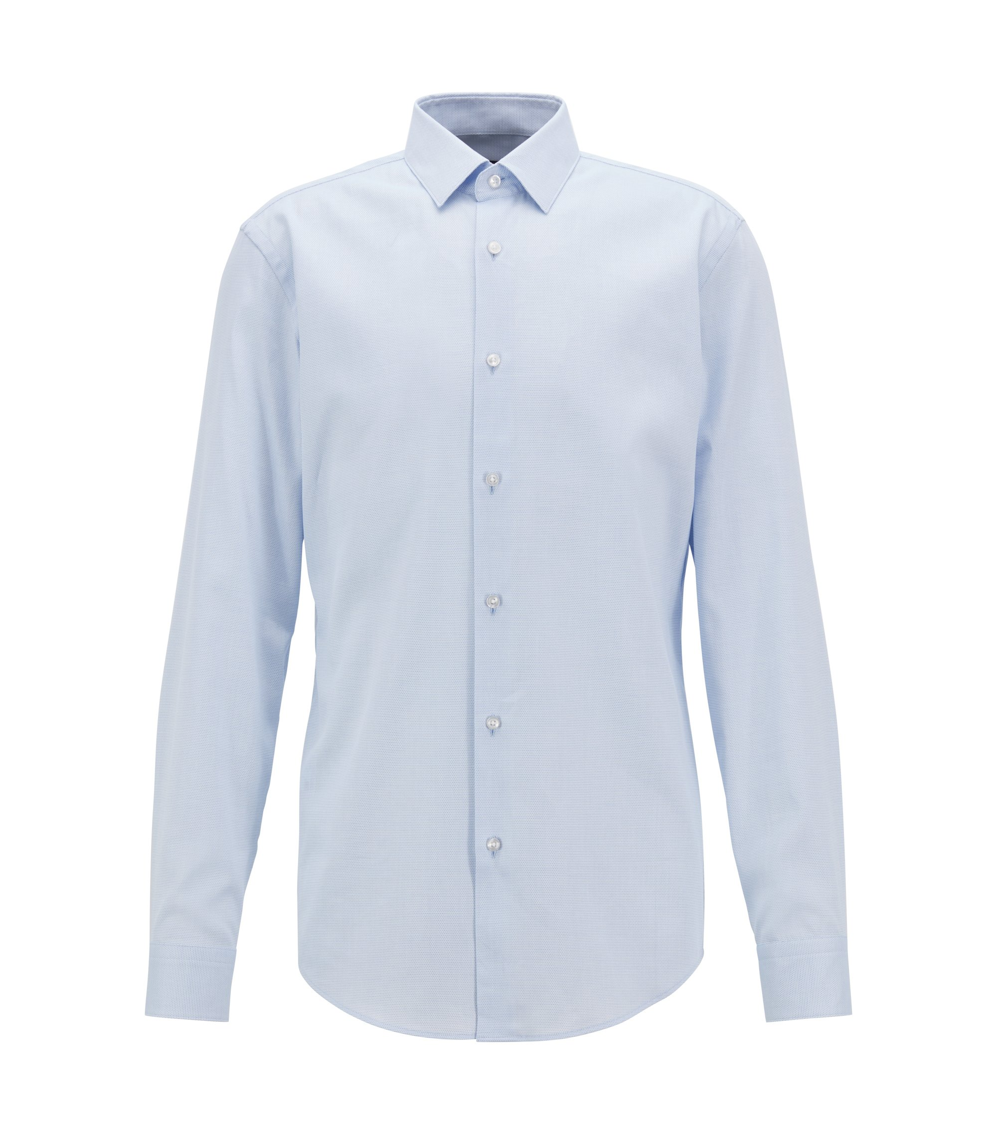Slim-fit shirt in Italian-made cotton, Light Blue