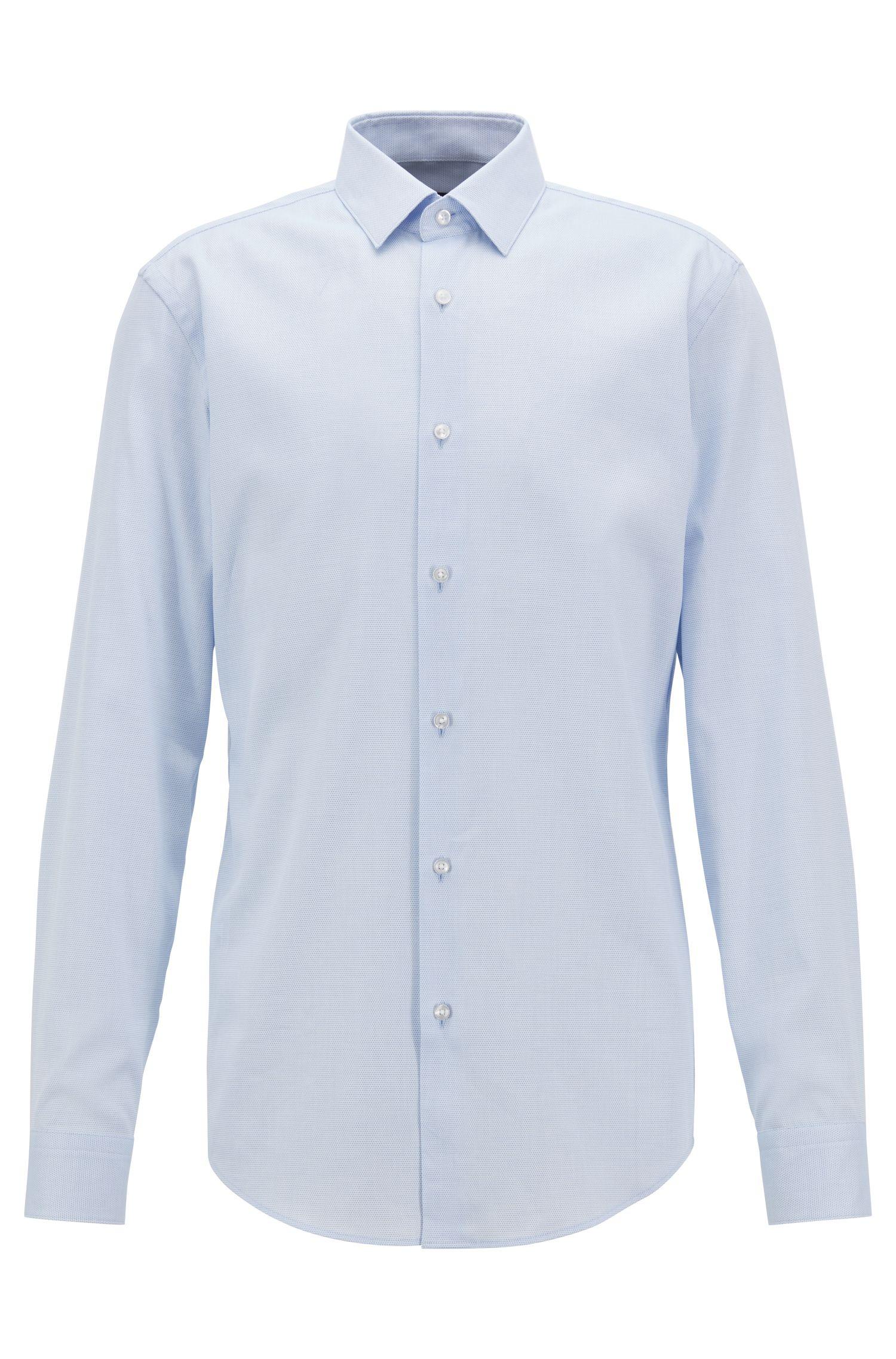 Camisa slim fit en algodón fabricado en Italia, Celeste
