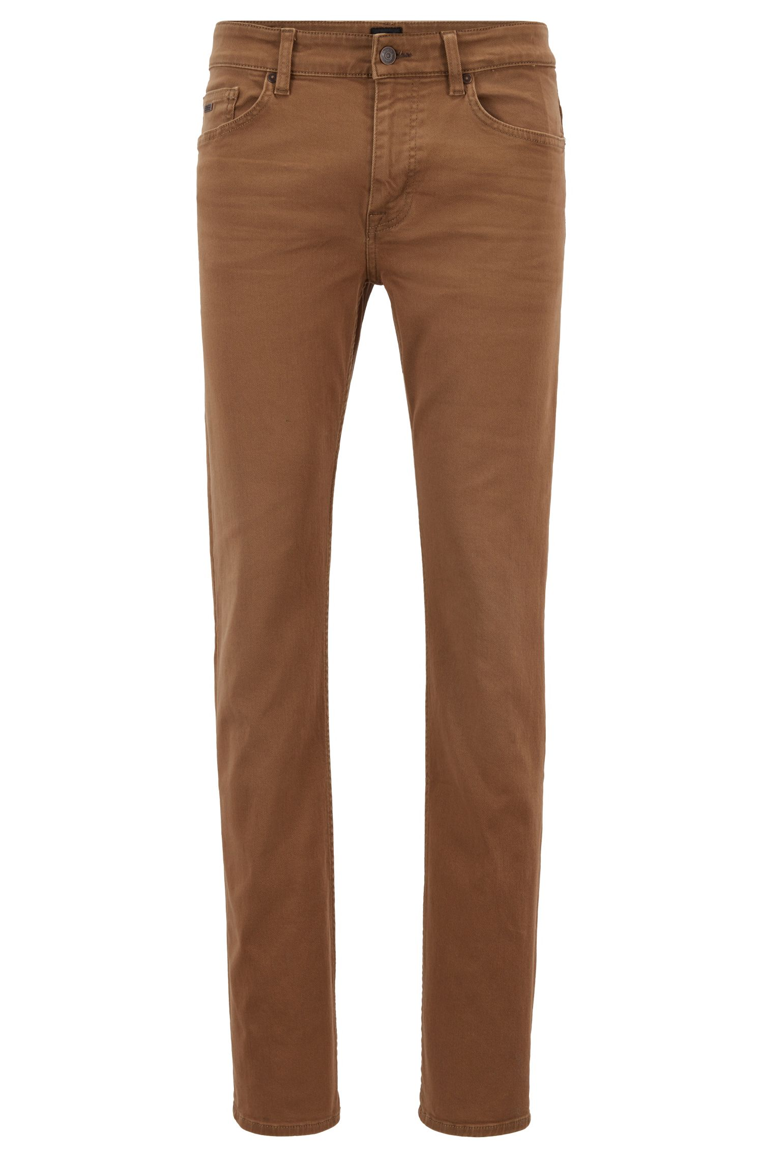 Slim-fit jeans in left-hand stretch-denim twill, Open Beige