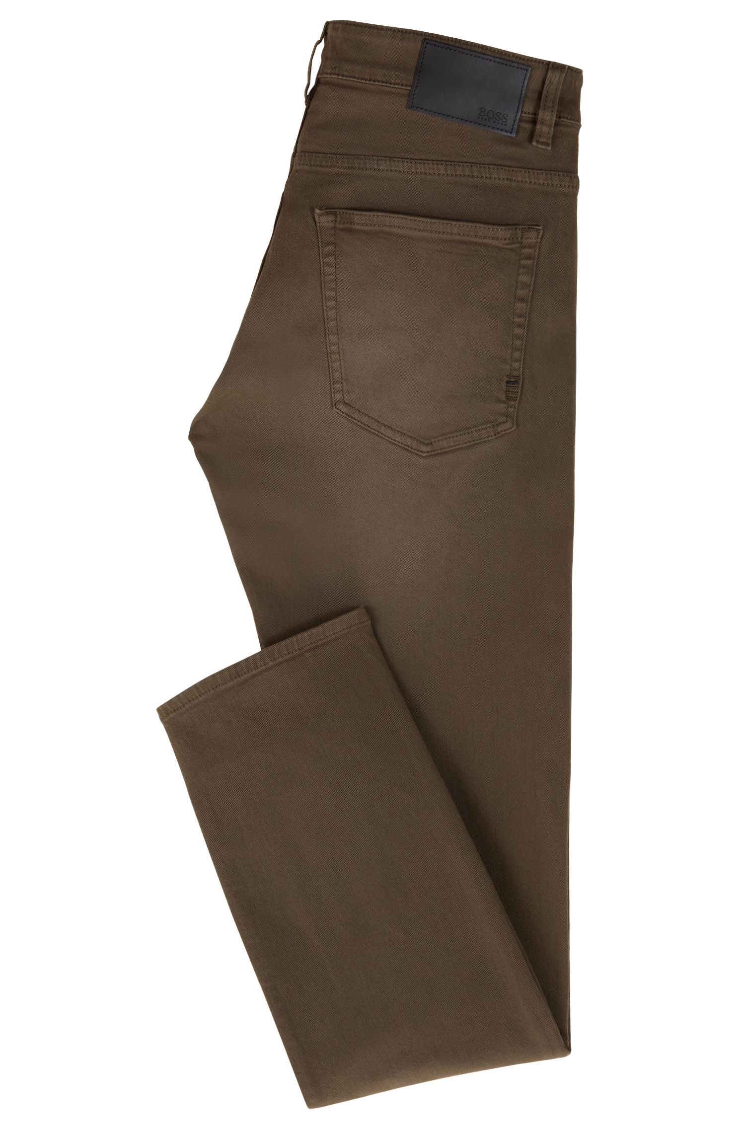 Jean Slim Fit en twill denim stretch au tissage gaucher, Vert sombre