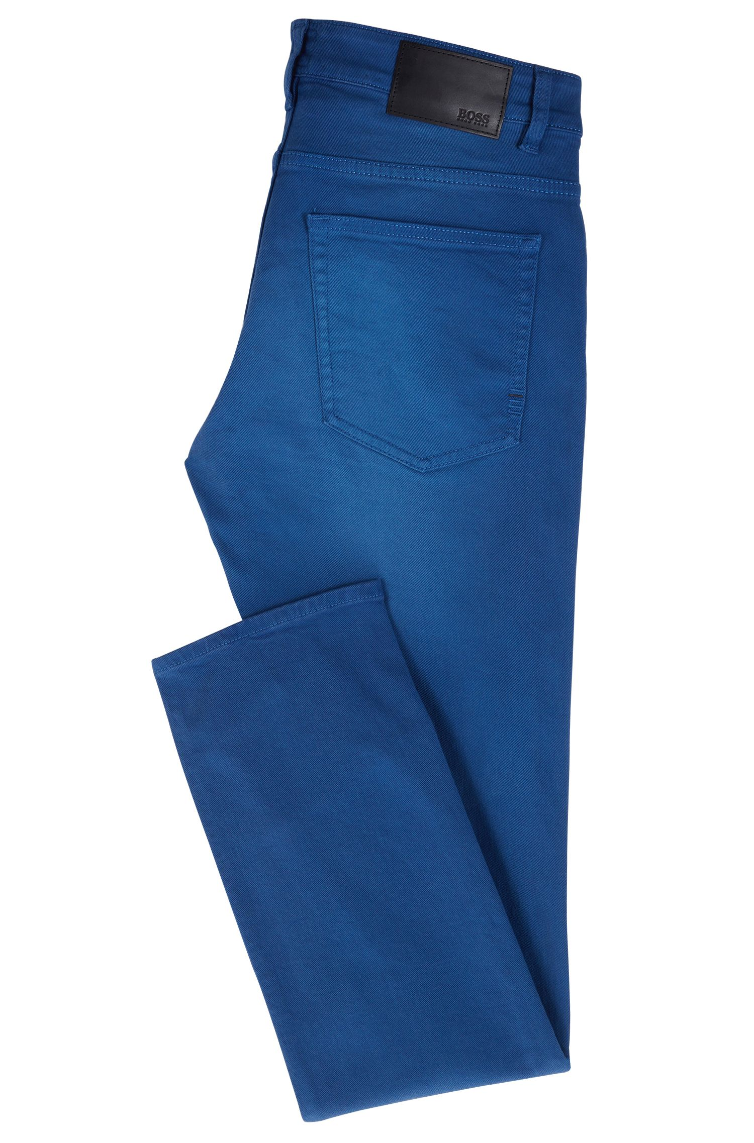 Jean Slim Fit en twill denim stretch au tissage gaucher, Bleu