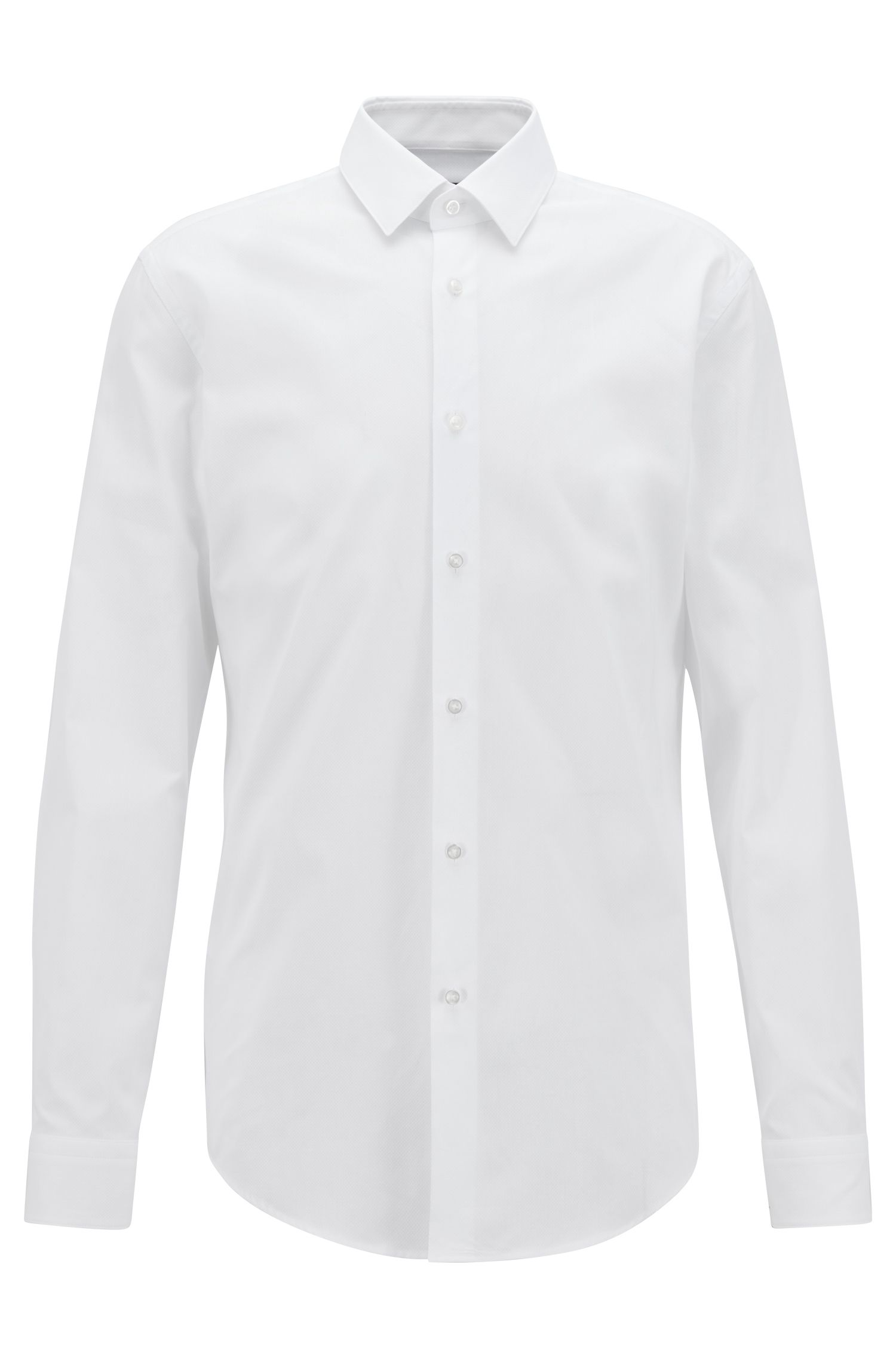 Slim-fit shirt in pure cotton with Kent collar, White