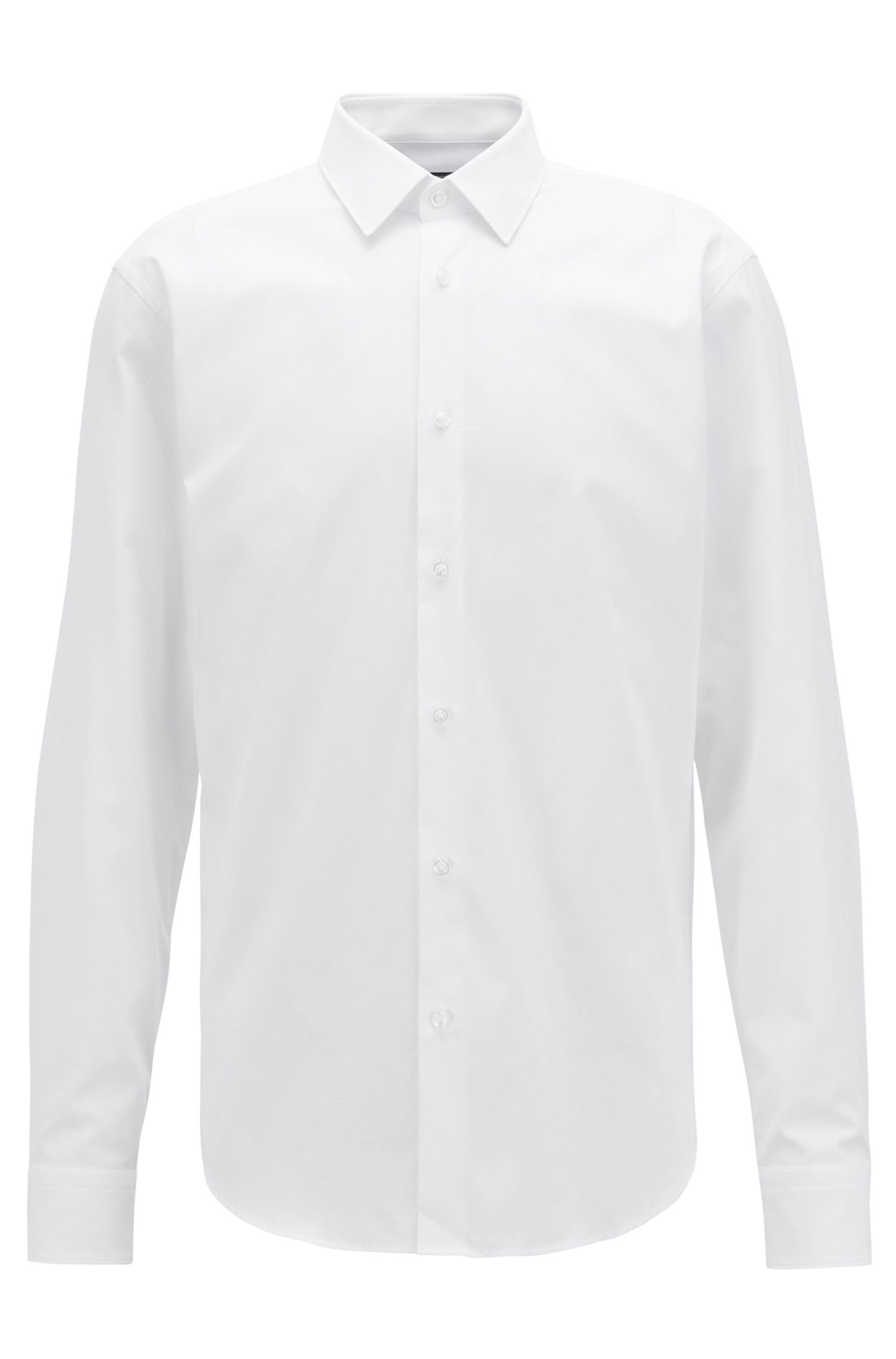Regular-fit shirt in structured cotton with topstitch detailing, White