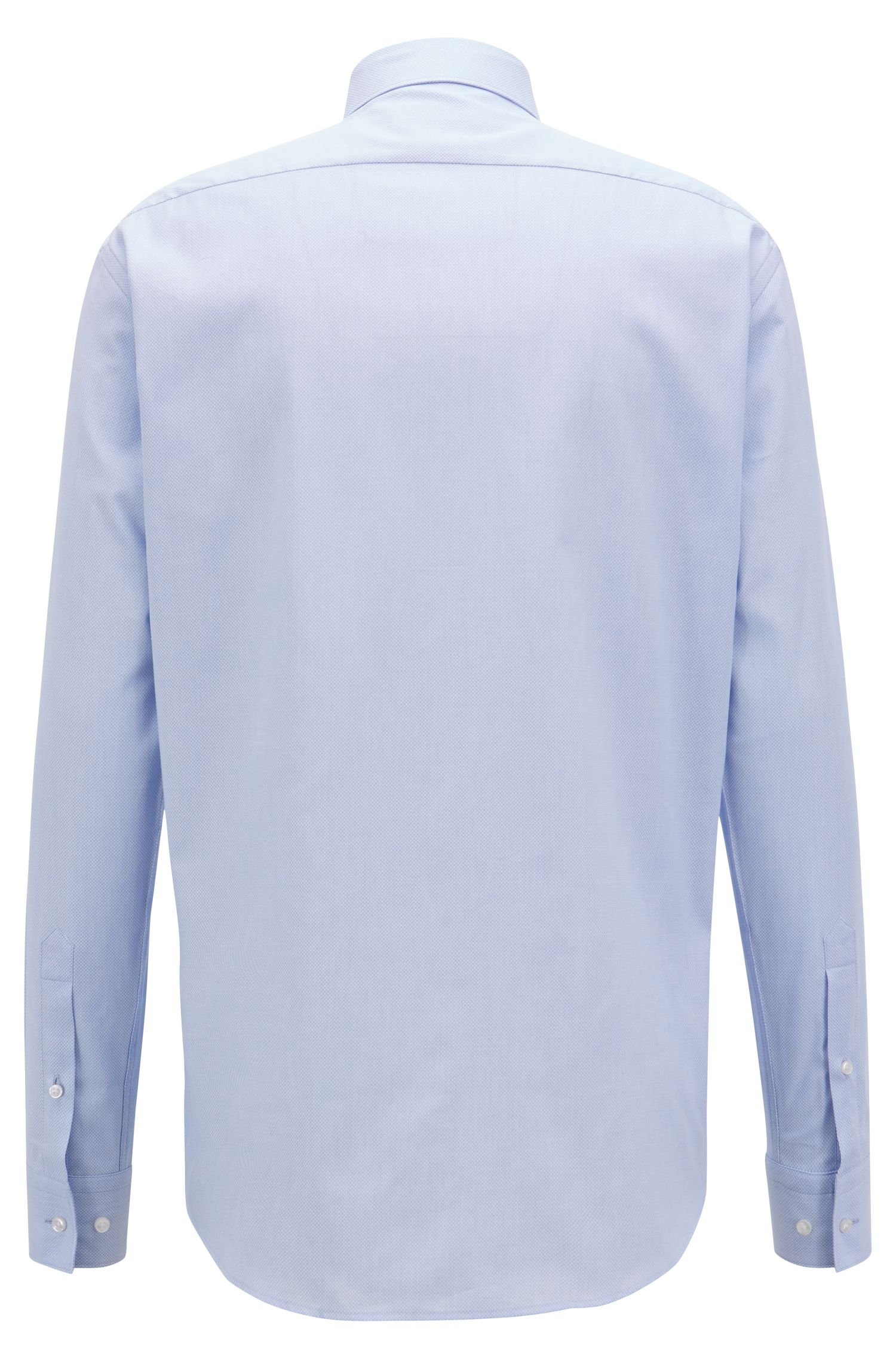 Regular-fit shirt in structured cotton with topstitch detailing, Light Blue