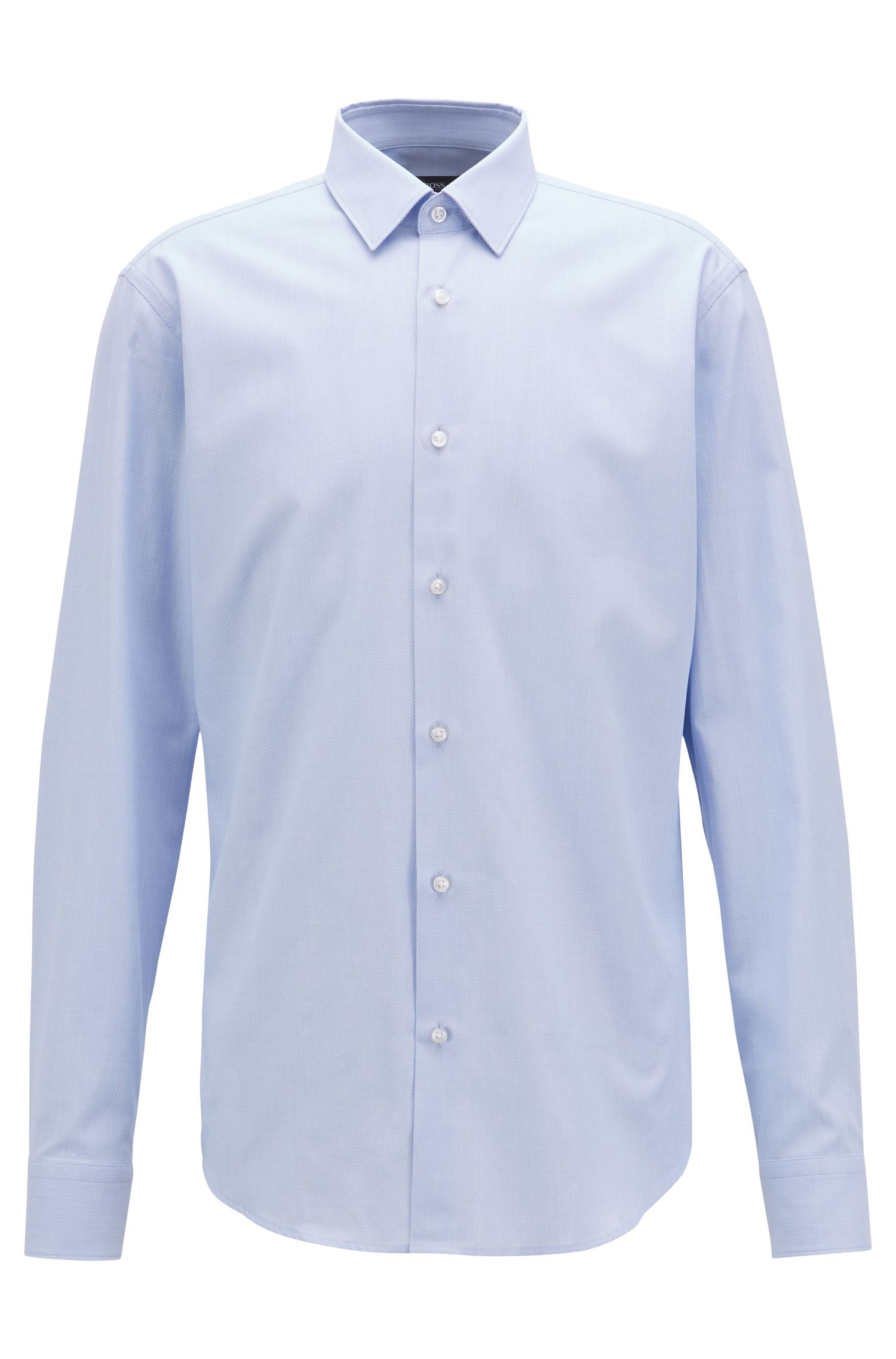 Chemise Regular Fit en coton structuré, rehaussée de surpiqûres