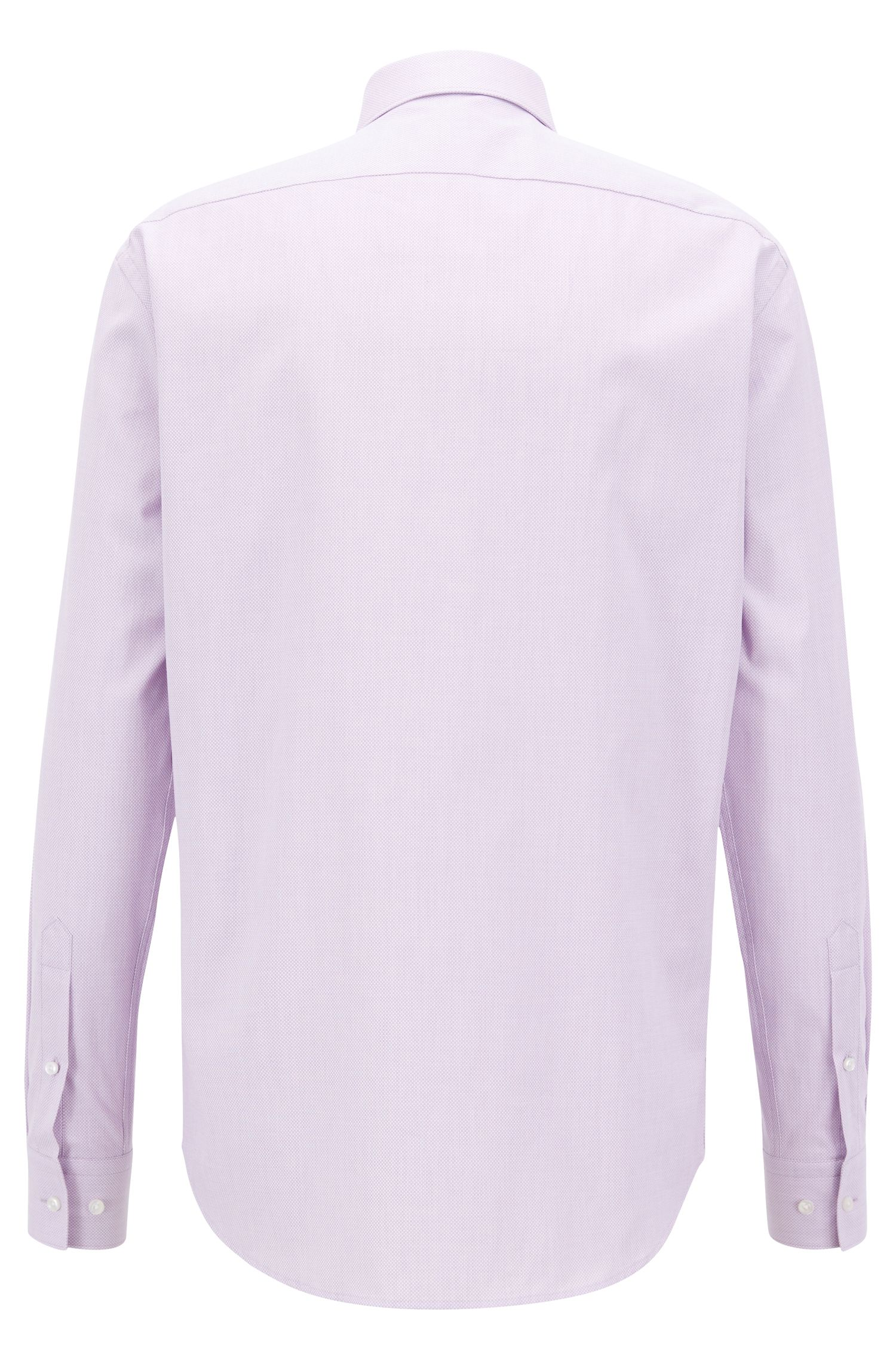 Regular-fit shirt in structured cotton with topstitch detailing, Purple