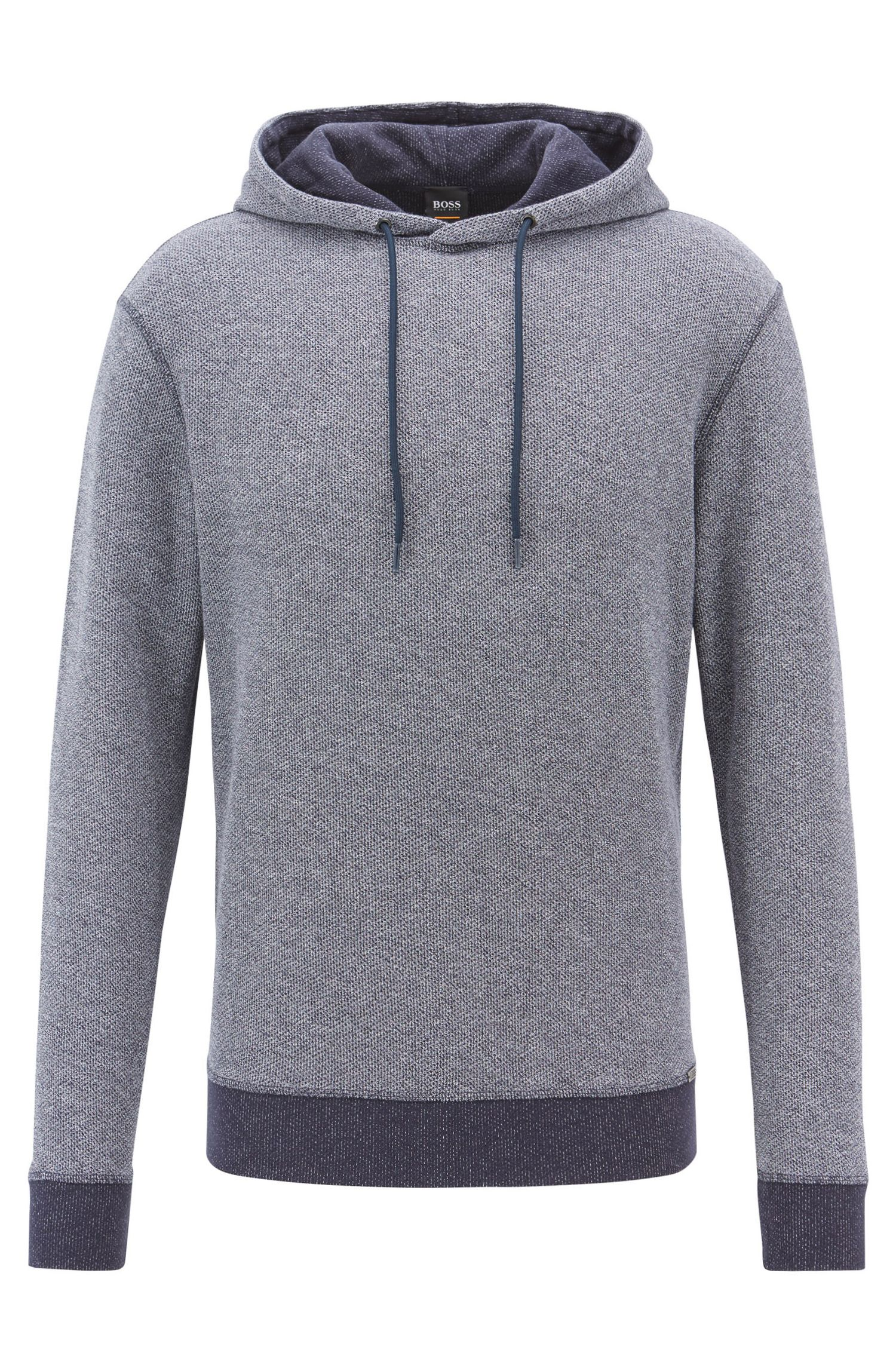 Reversible hooded sweatshirt in mesh-structured cotton, Dark Blue