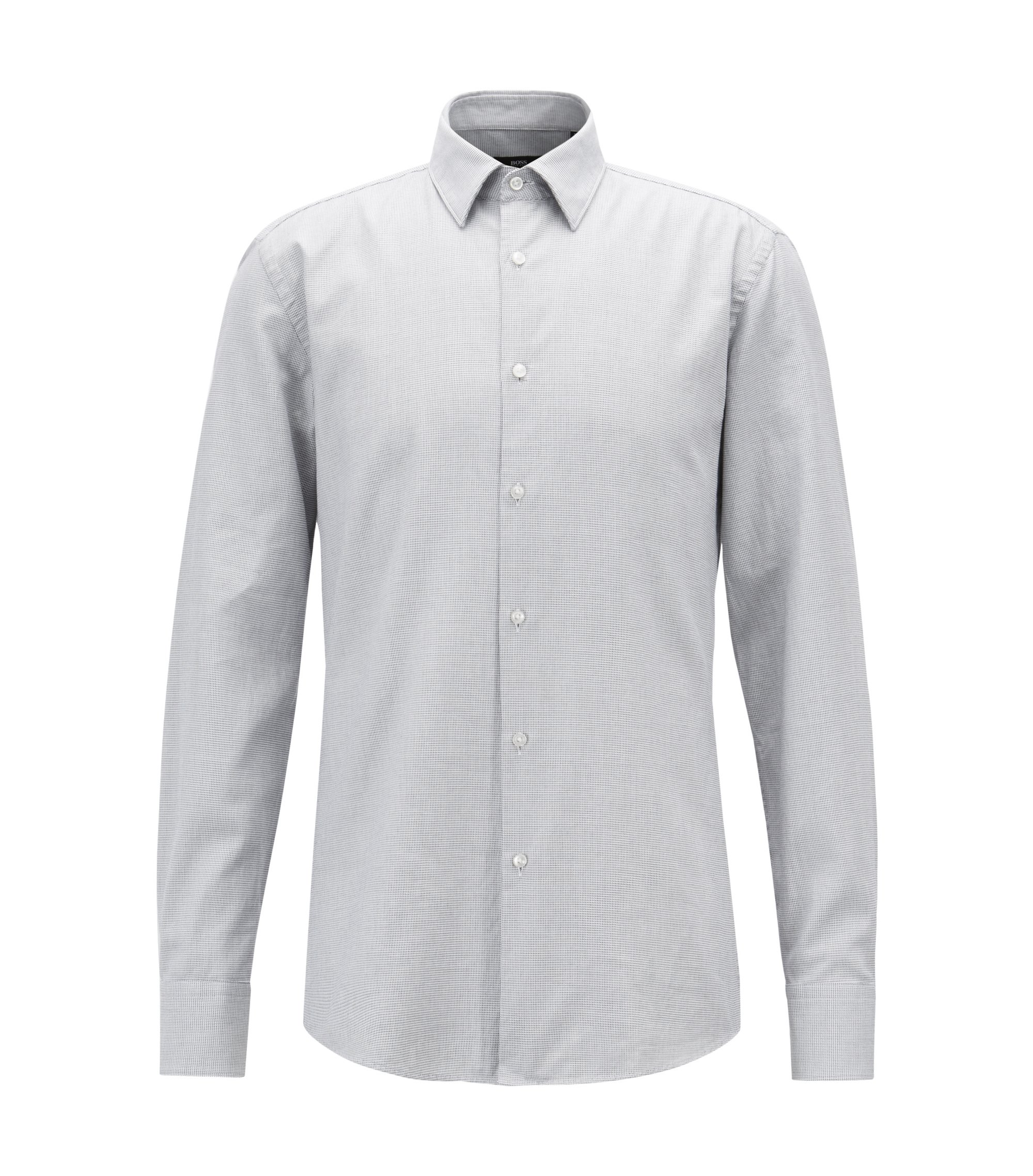 Slim-fit shirt in cotton with three-dimensional structure, Grey