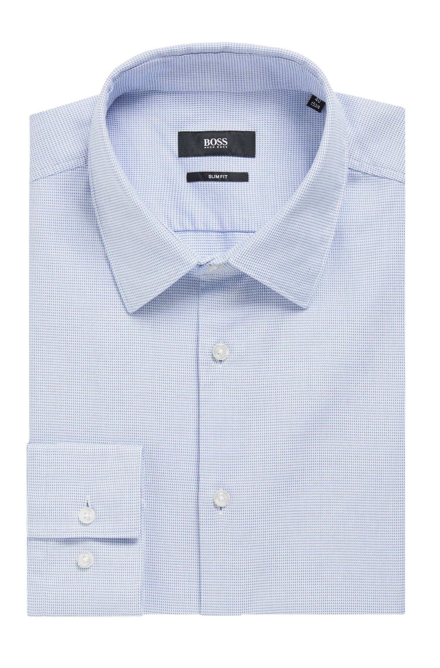 Slim-fit shirt in cotton with three-dimensional structure, Light Blue