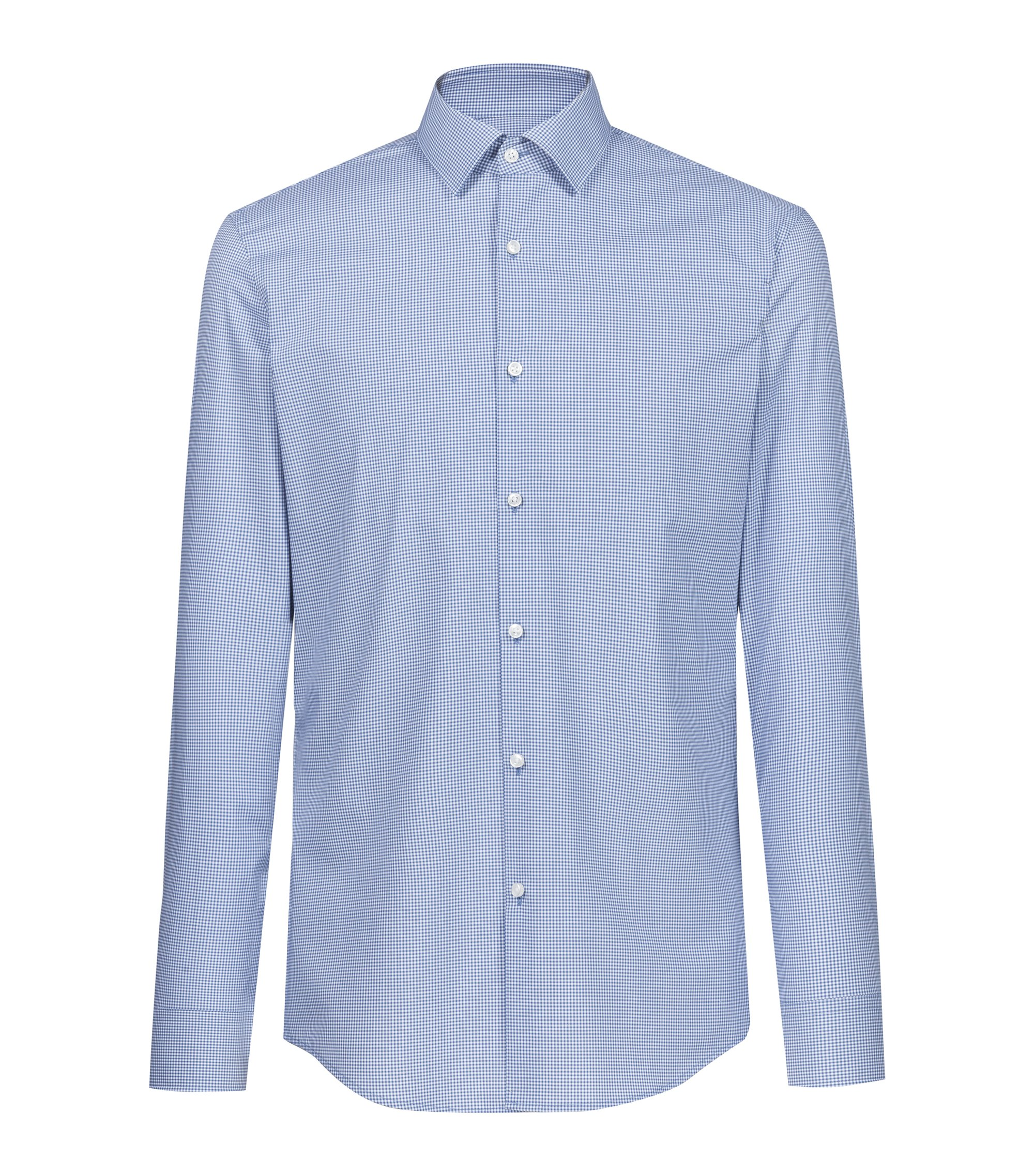 Camicia slim fit in cotone a quadri Vichy facile da stirare, Blu