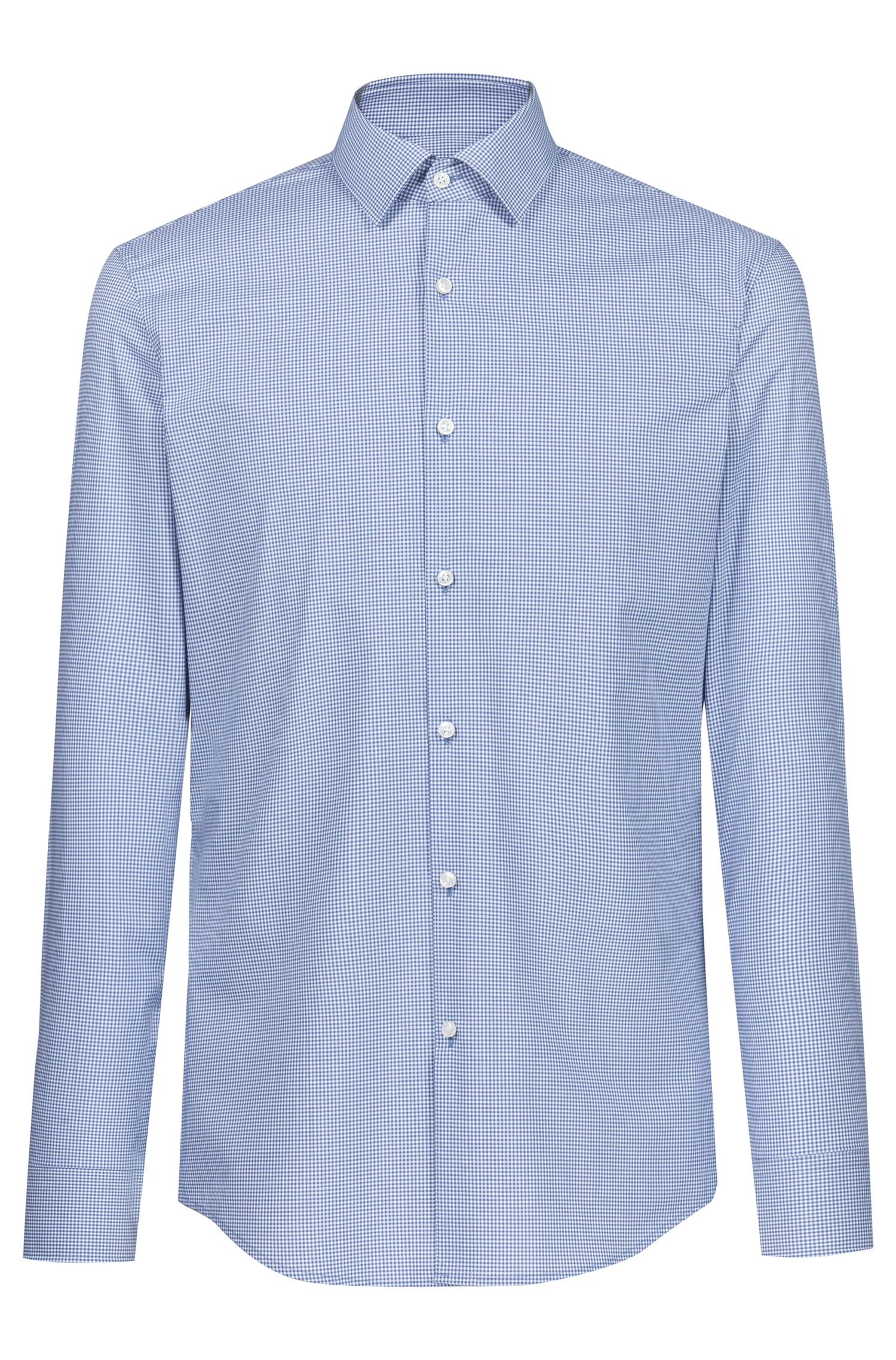 Slim-fit shirt in Vichy-check easy-iron cotton, Blue