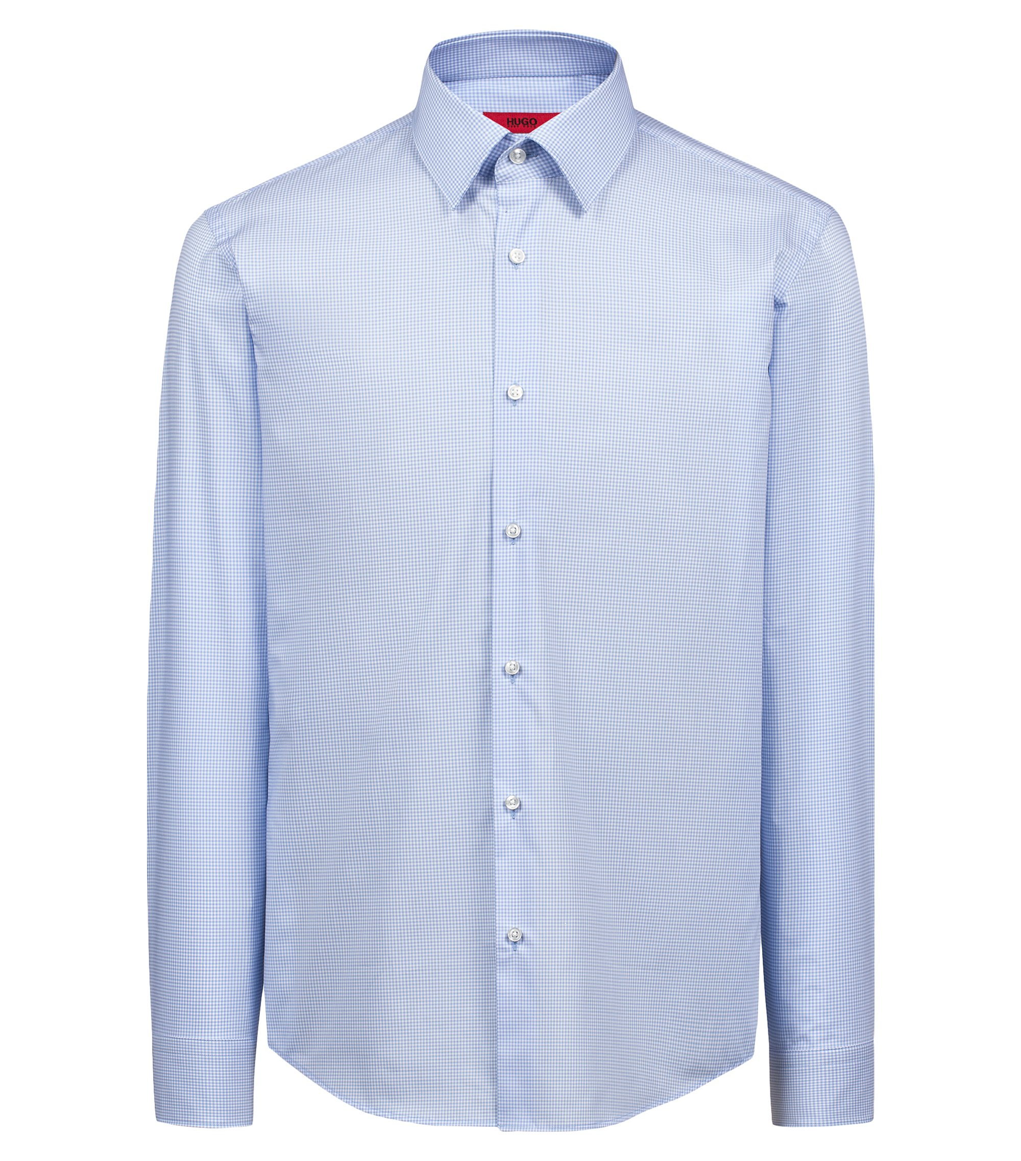 Regular-fit easy-iron shirt in Vichy-check cotton, Light Blue